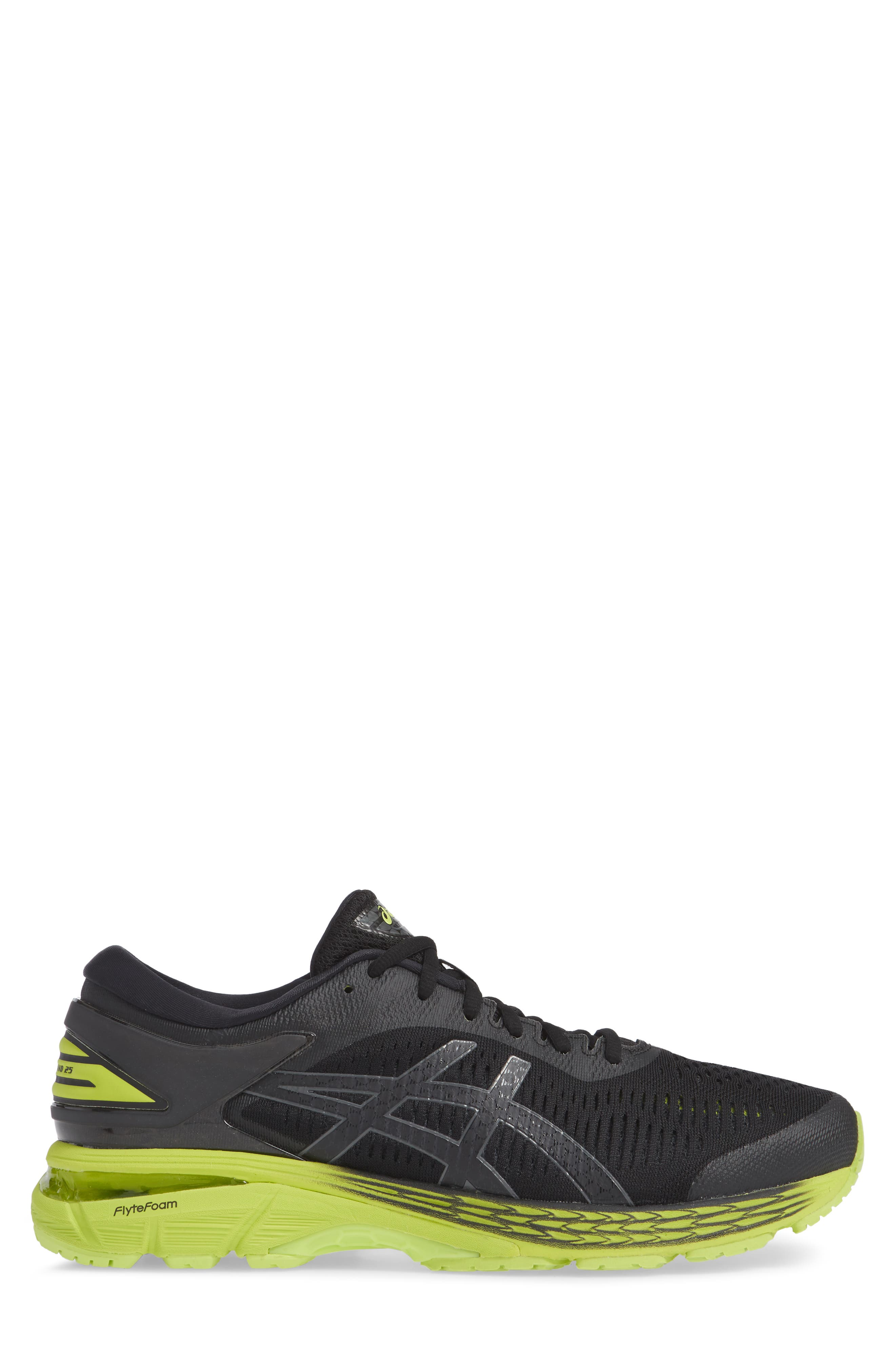 GEL-Kayano<sup>®</sup> 25 Running Shoe,                             Alternate thumbnail 3, color,                             BLACK/ NEON LIME