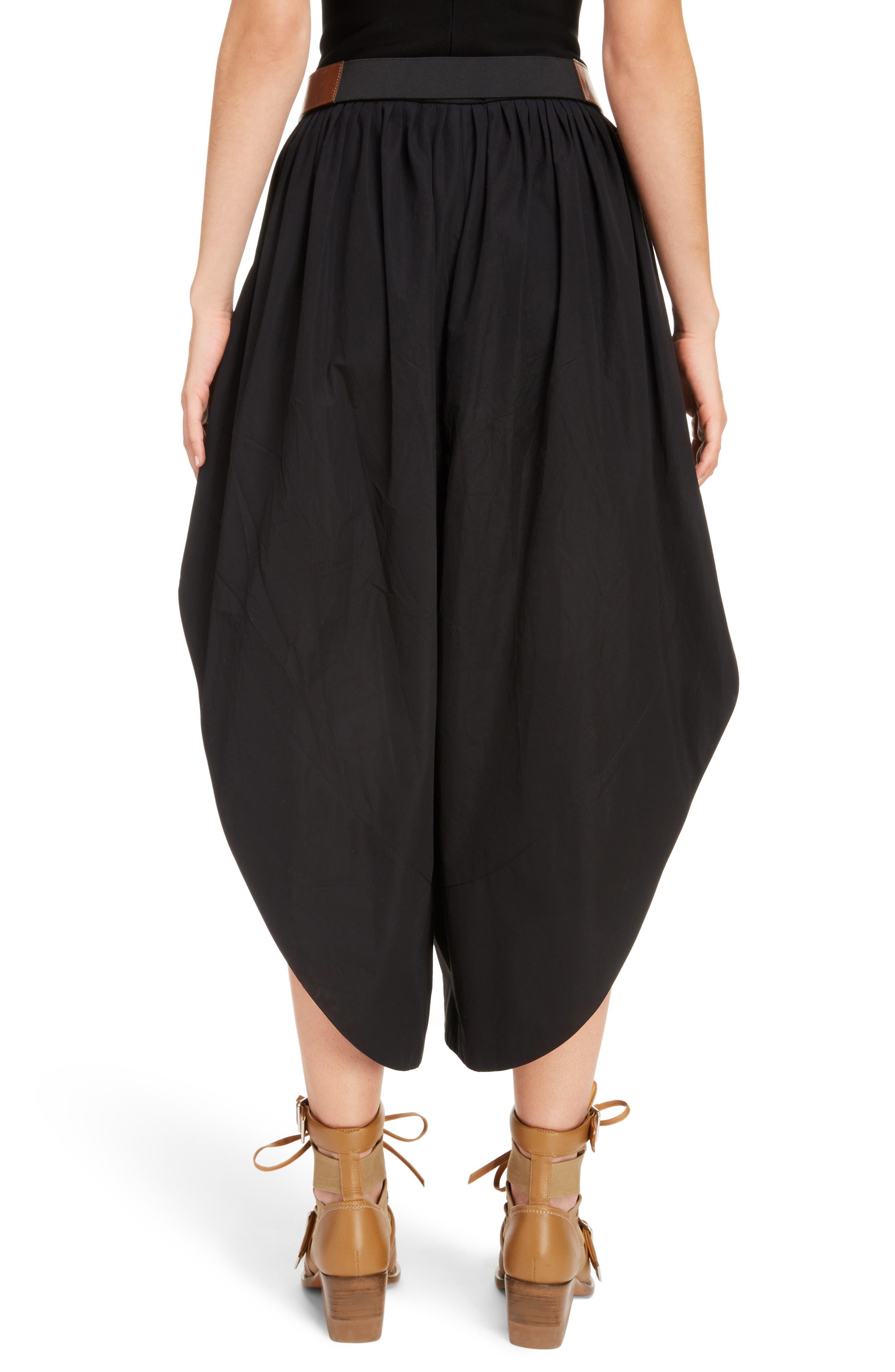 Side Slit Belted Poplin Pants,                             Alternate thumbnail 2, color,                             BLACK