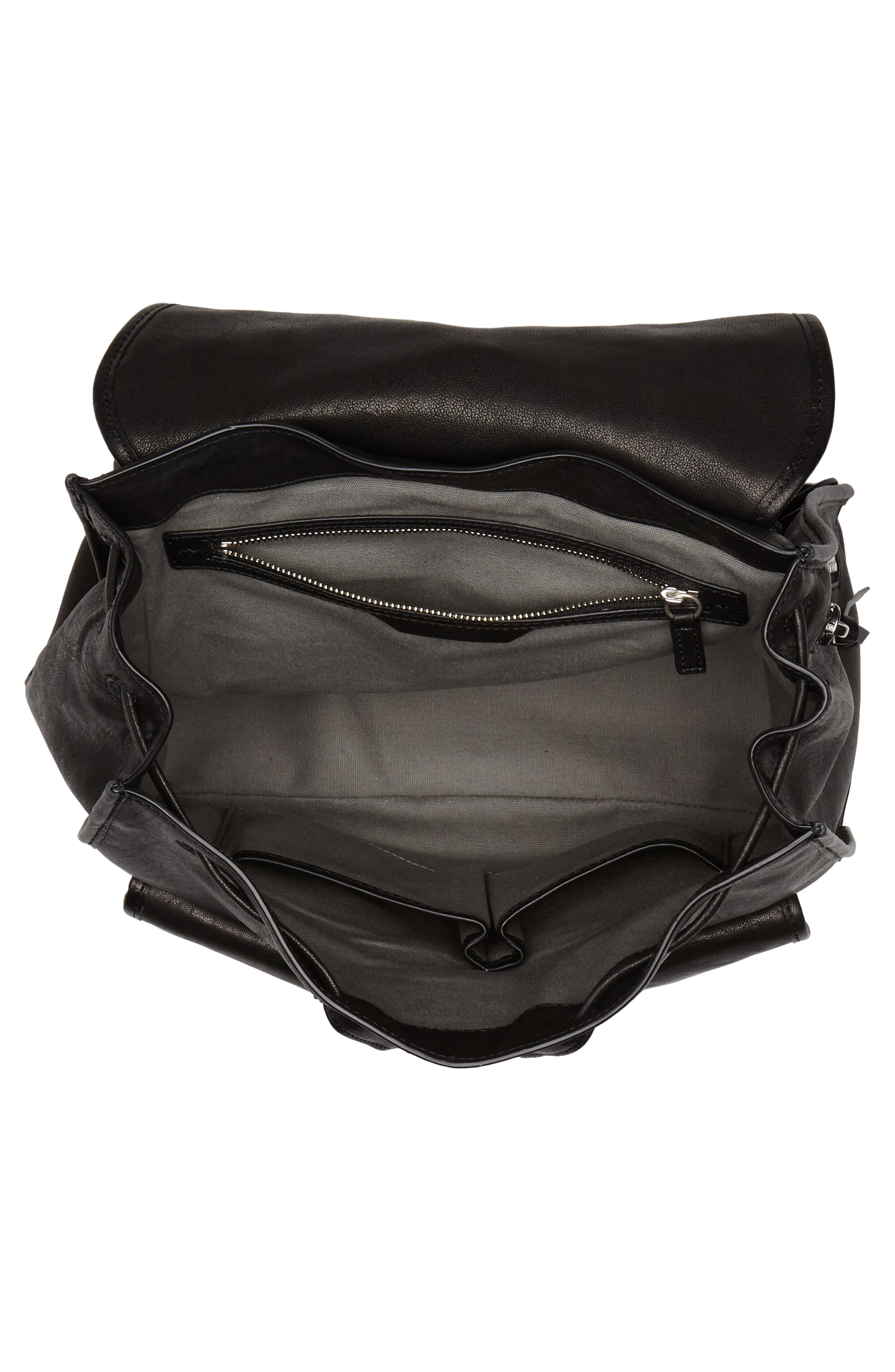 Field Lambskin Leather Backpack,                             Alternate thumbnail 4, color,                             BLACK