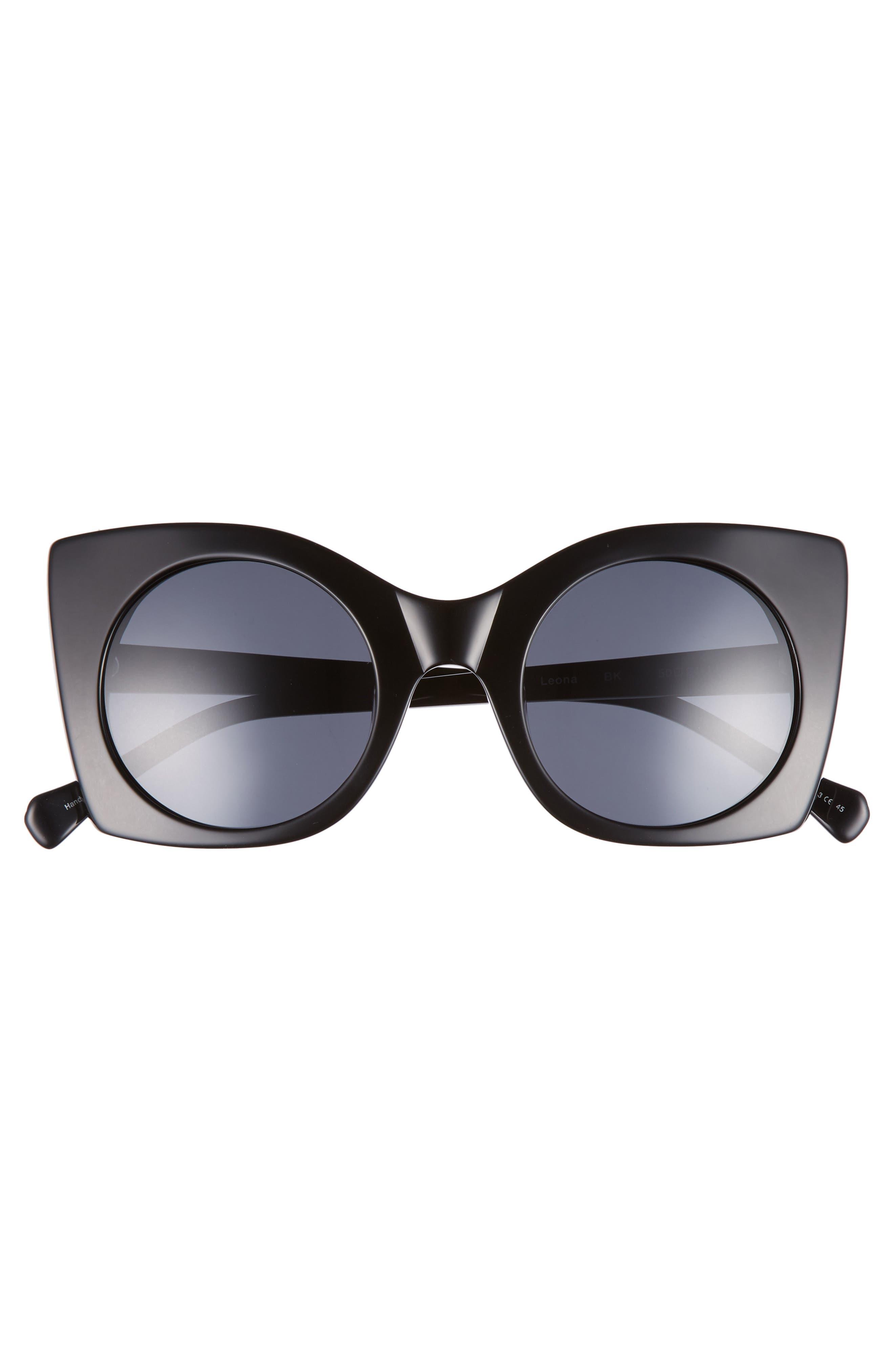 Leona 50mm Polarized Sunglasses,                             Alternate thumbnail 3, color,                             BLACK POLAR