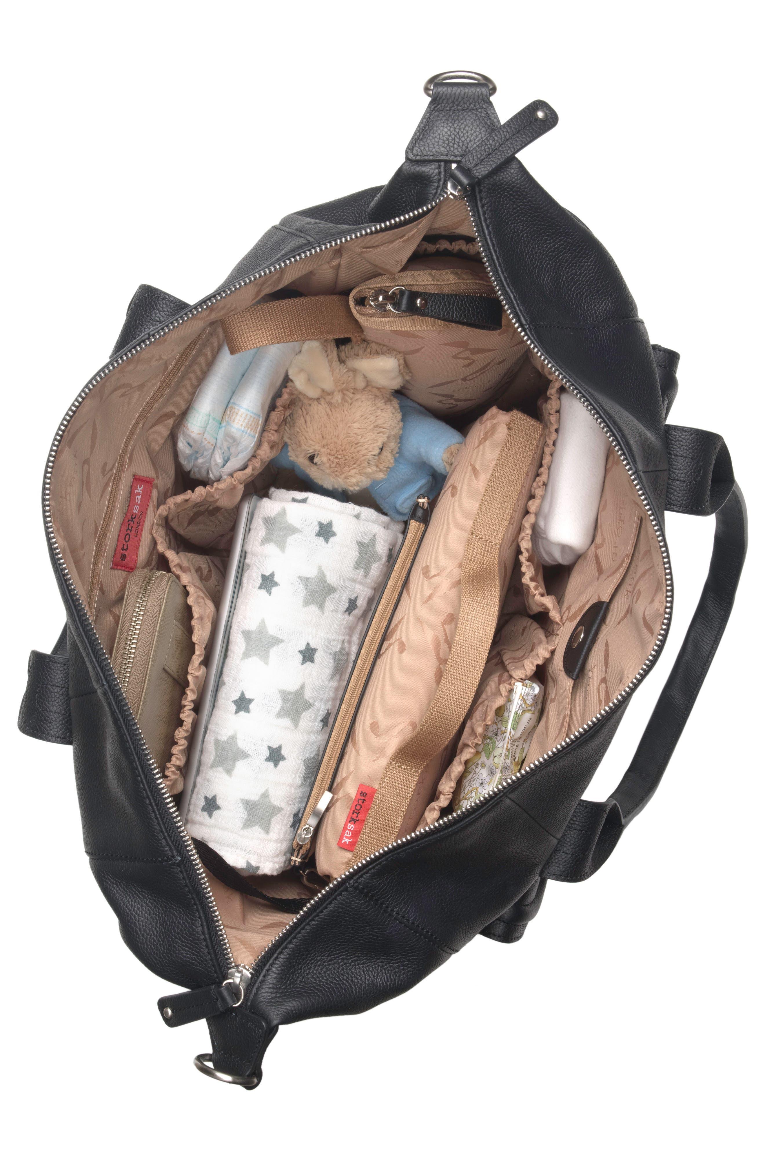 Storsak Leather Diaper Bag,                             Alternate thumbnail 4, color,                             BLACK