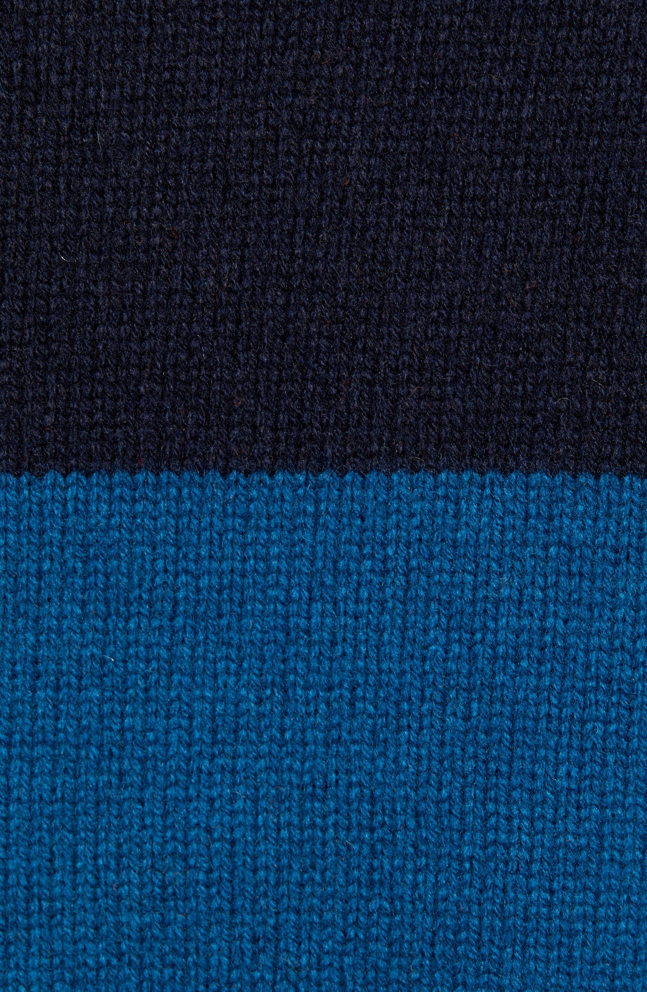 Goldner Stripe Wool Sweater,                             Alternate thumbnail 5, color,                             GOLD STRIPE DARK NAVY