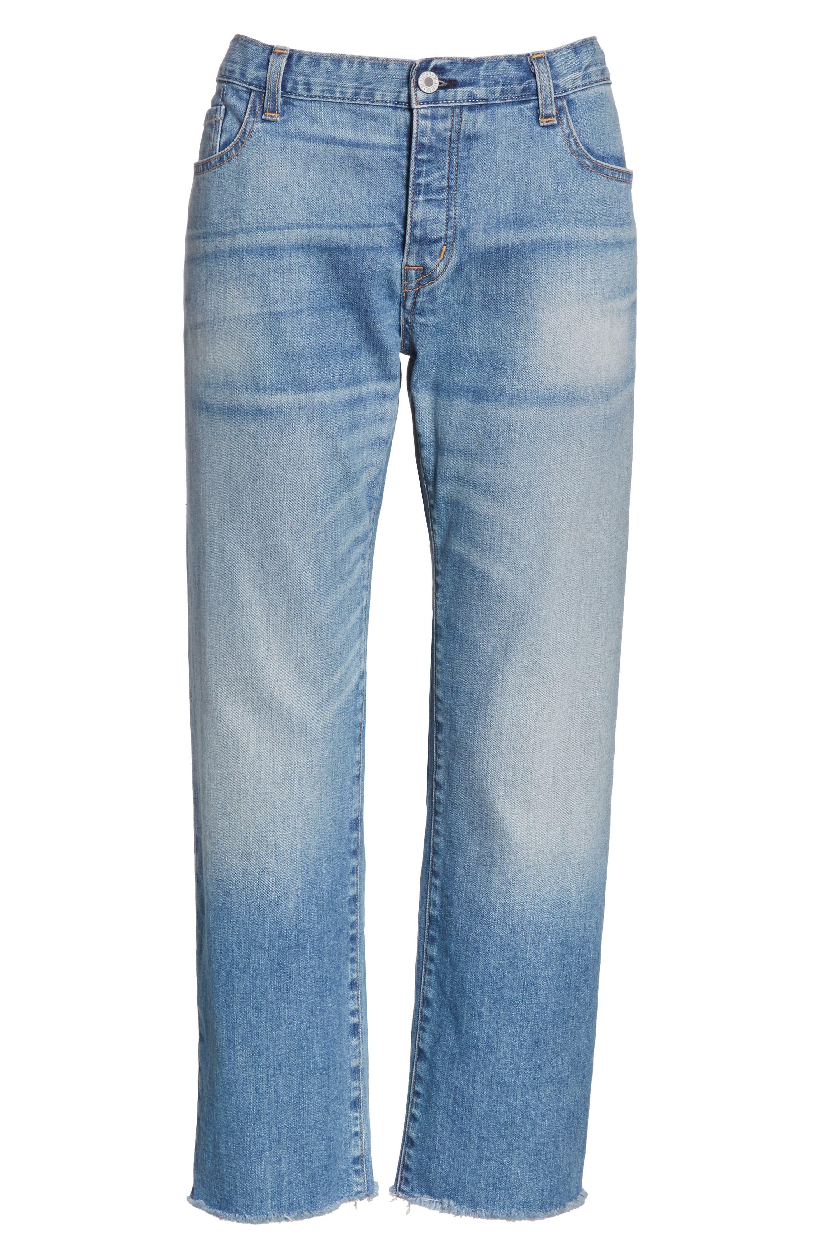 NILI LOTAN,                             Raw Edge Crop Boyfriend Jeans,                             Alternate thumbnail 6, color,                             VENICE WASH