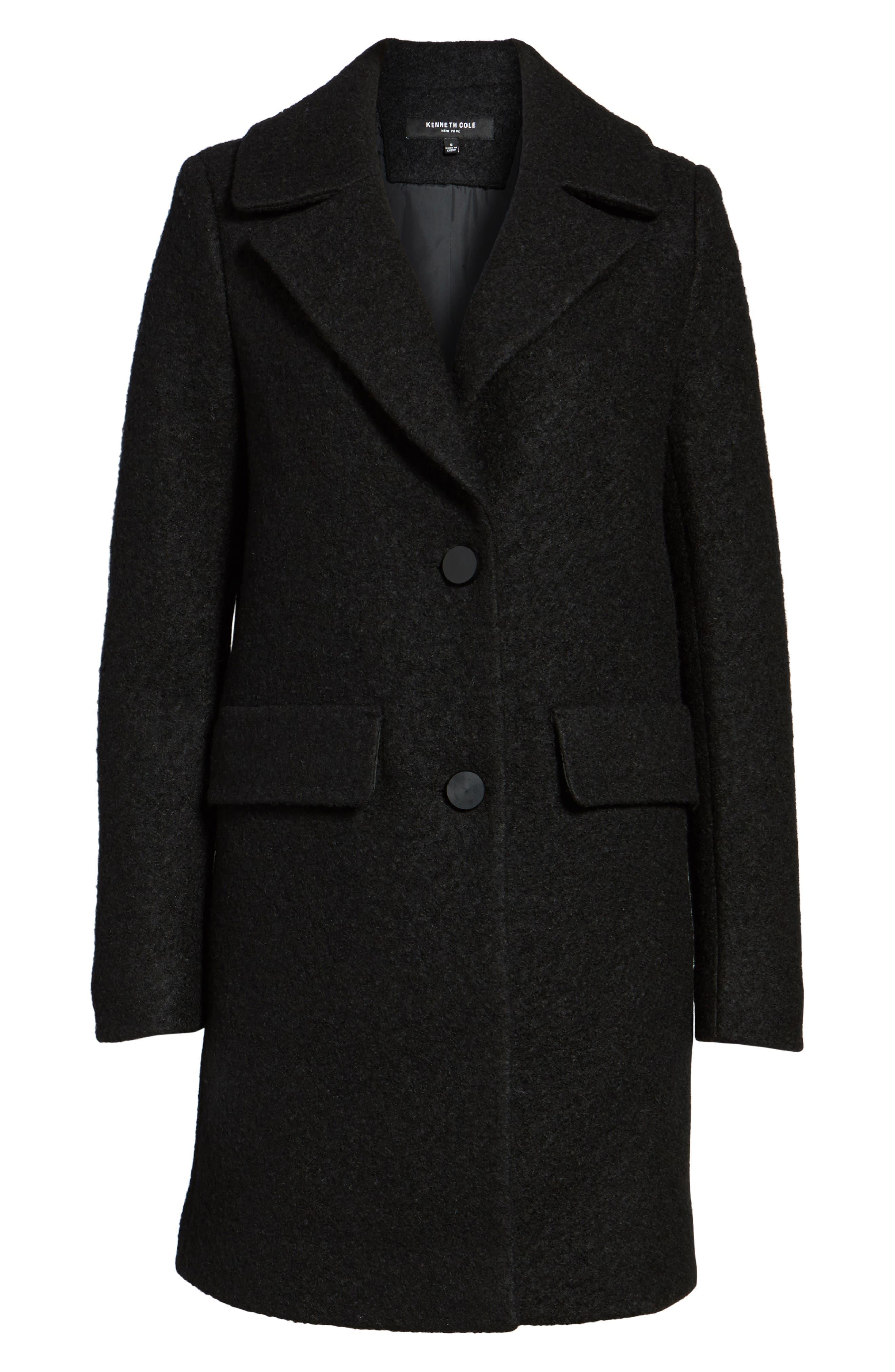 Wool Blend Bouclé Coat,                             Alternate thumbnail 5, color,                             BLACK