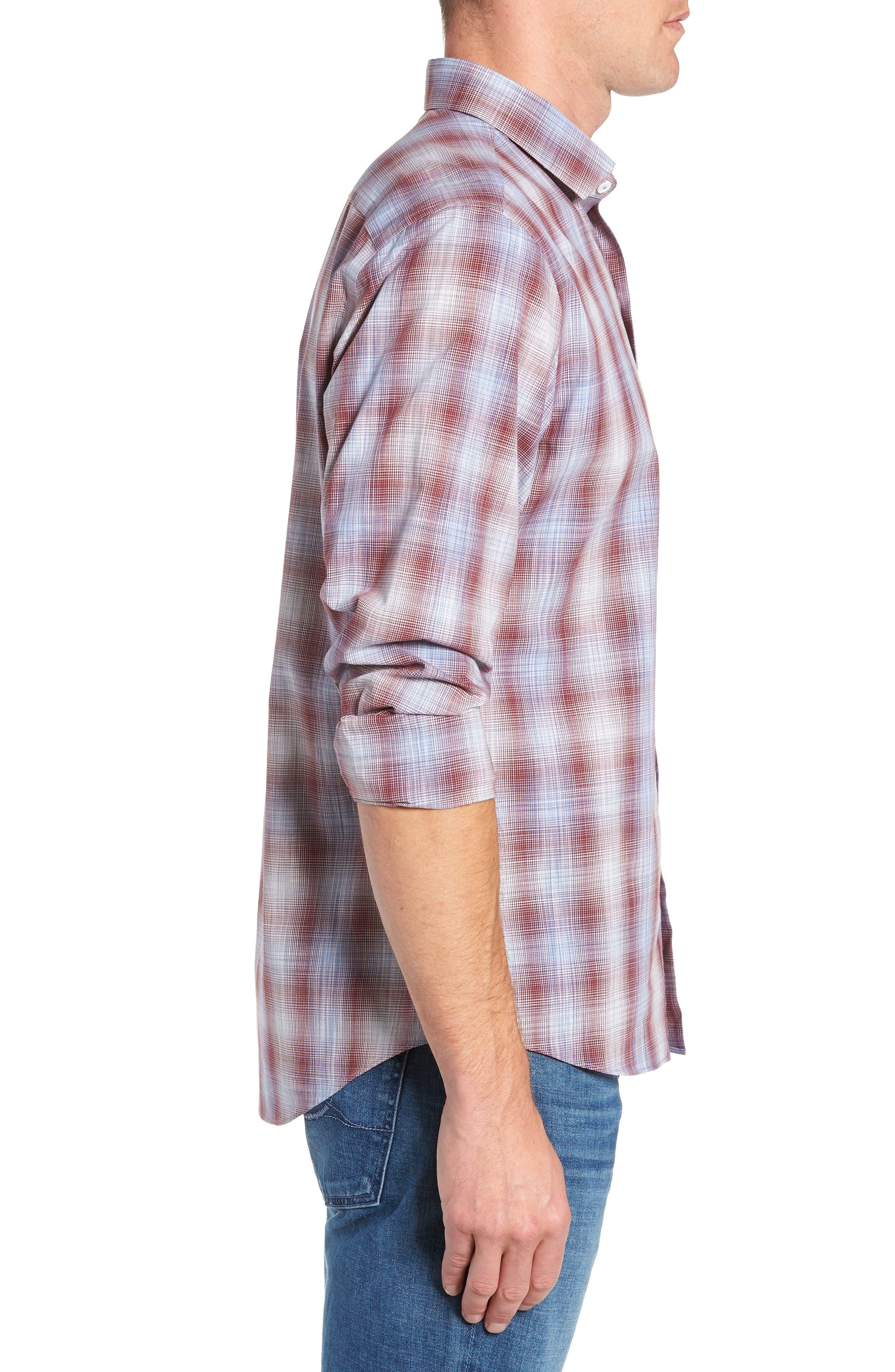 Cepeda Regular Fit Plaid Sport Shirt,                             Alternate thumbnail 4, color,                             RUBY