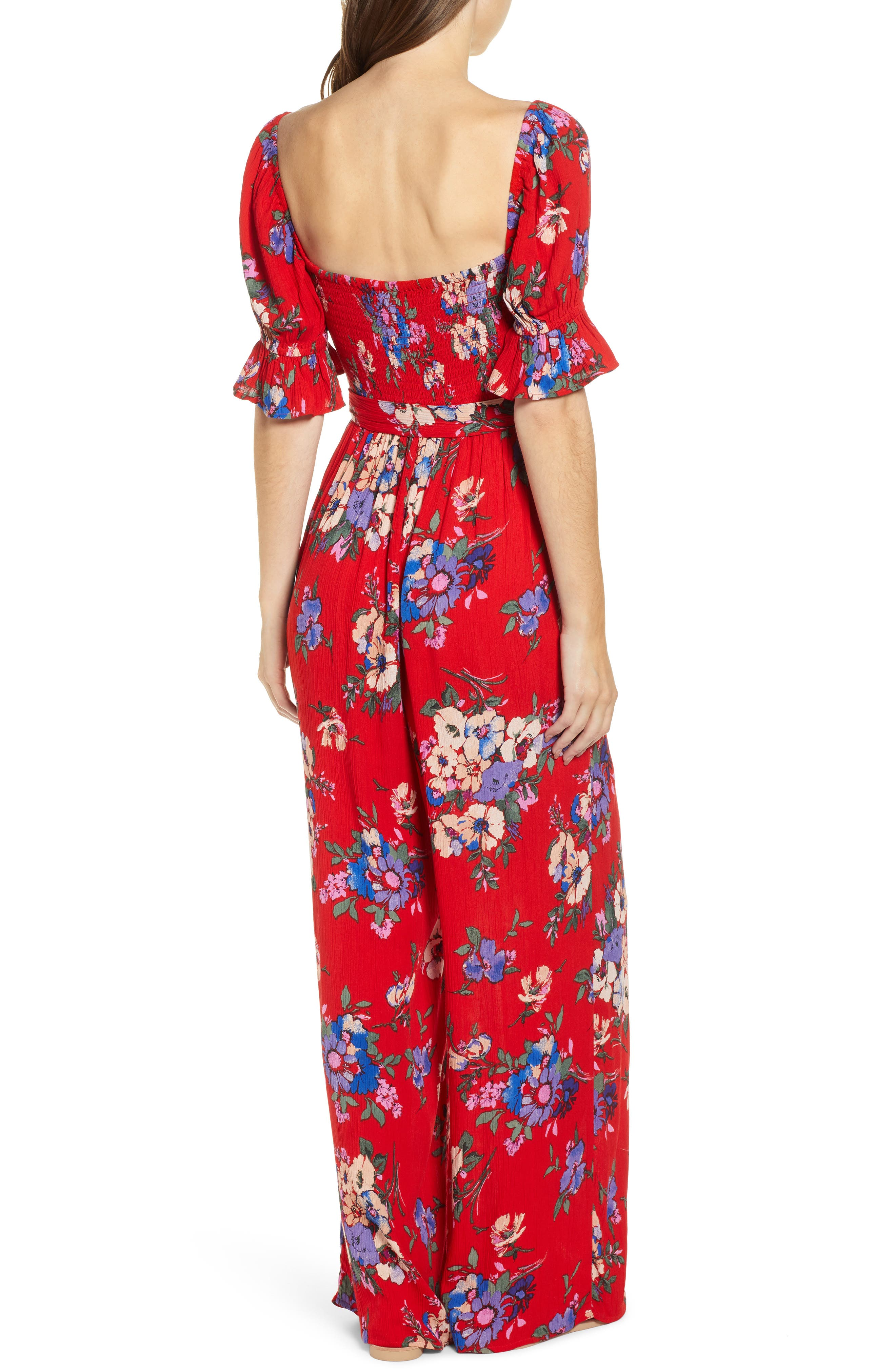 BAND OF GYPSIES,                             Manchester Smocked Jumpsuit,                             Alternate thumbnail 2, color,                             RED/ ROYAL