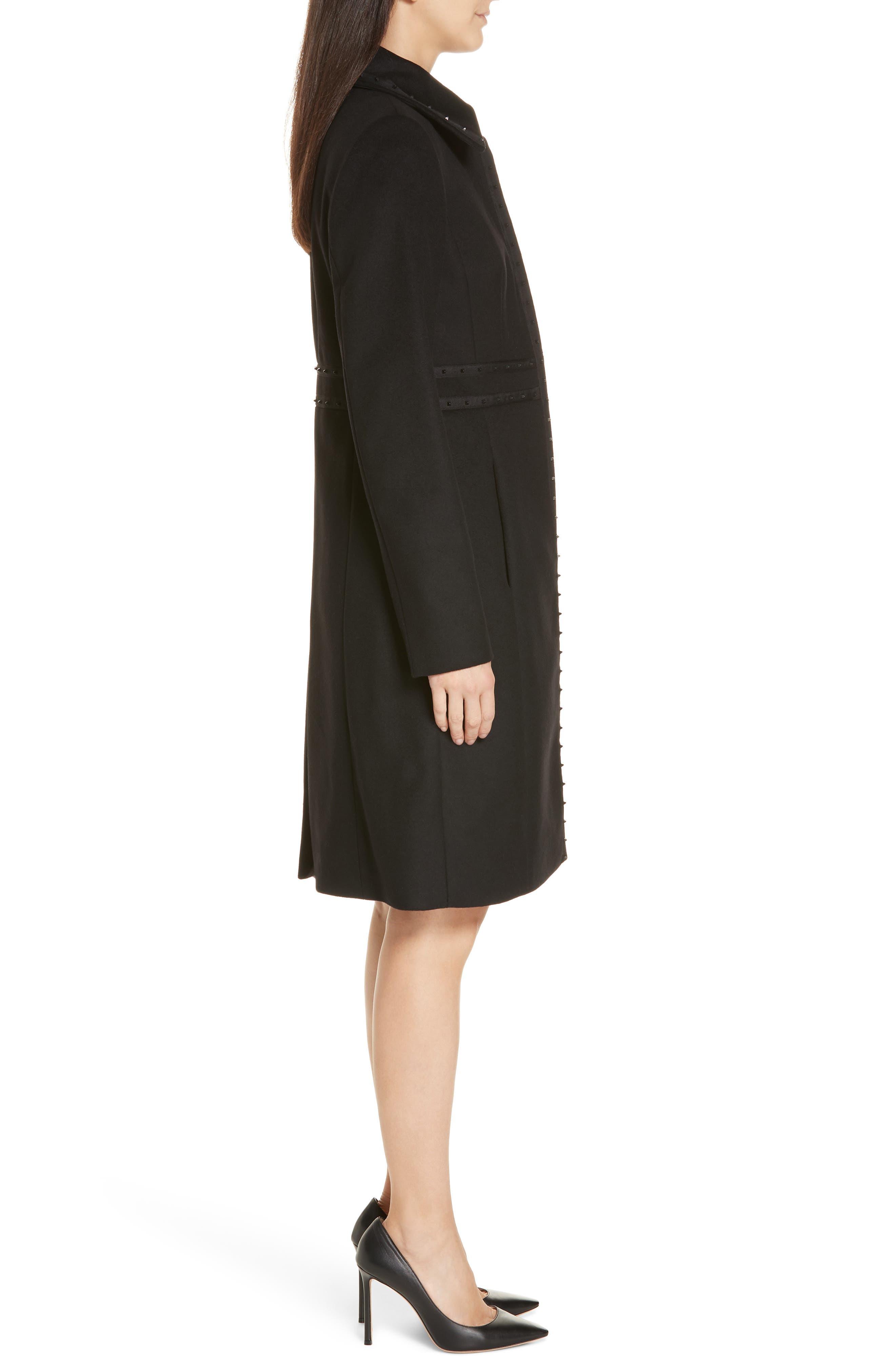 Wool & Cashmere Coat,                             Alternate thumbnail 3, color,                             BLACK