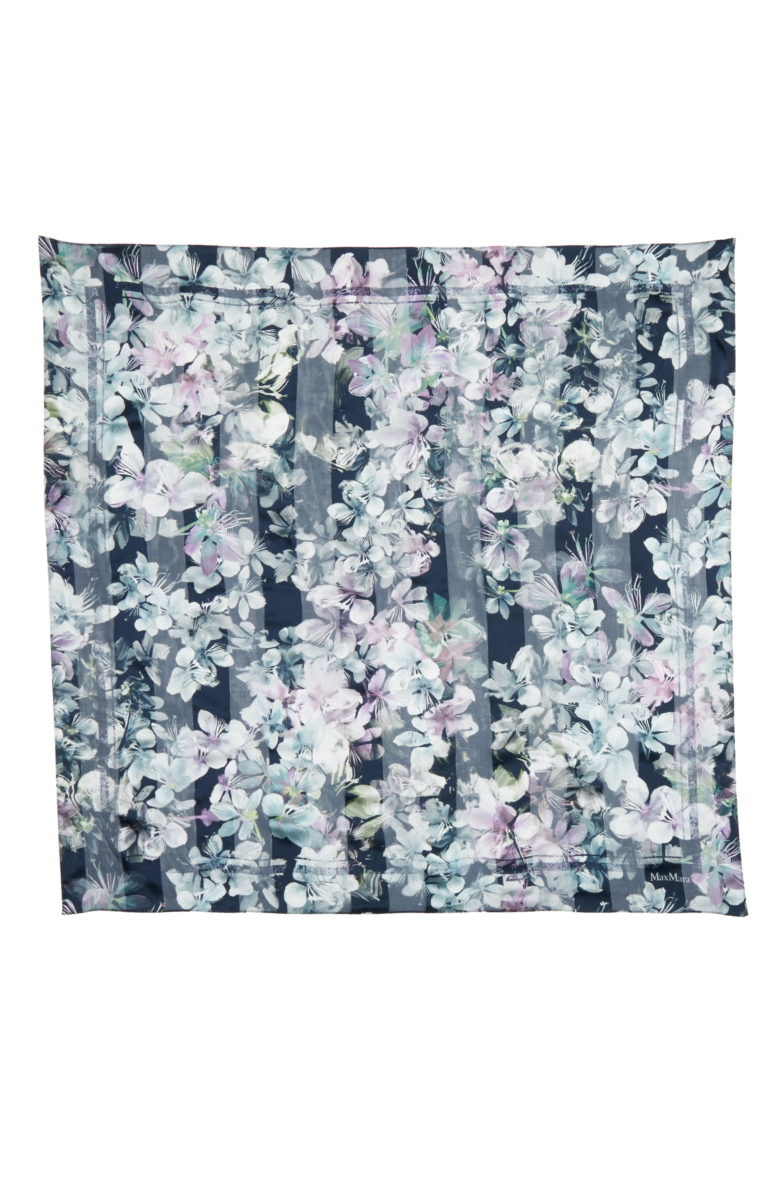 Caramba Floral Silk Scarf,                             Alternate thumbnail 3, color,                             ULTRAMARINE BLUE
