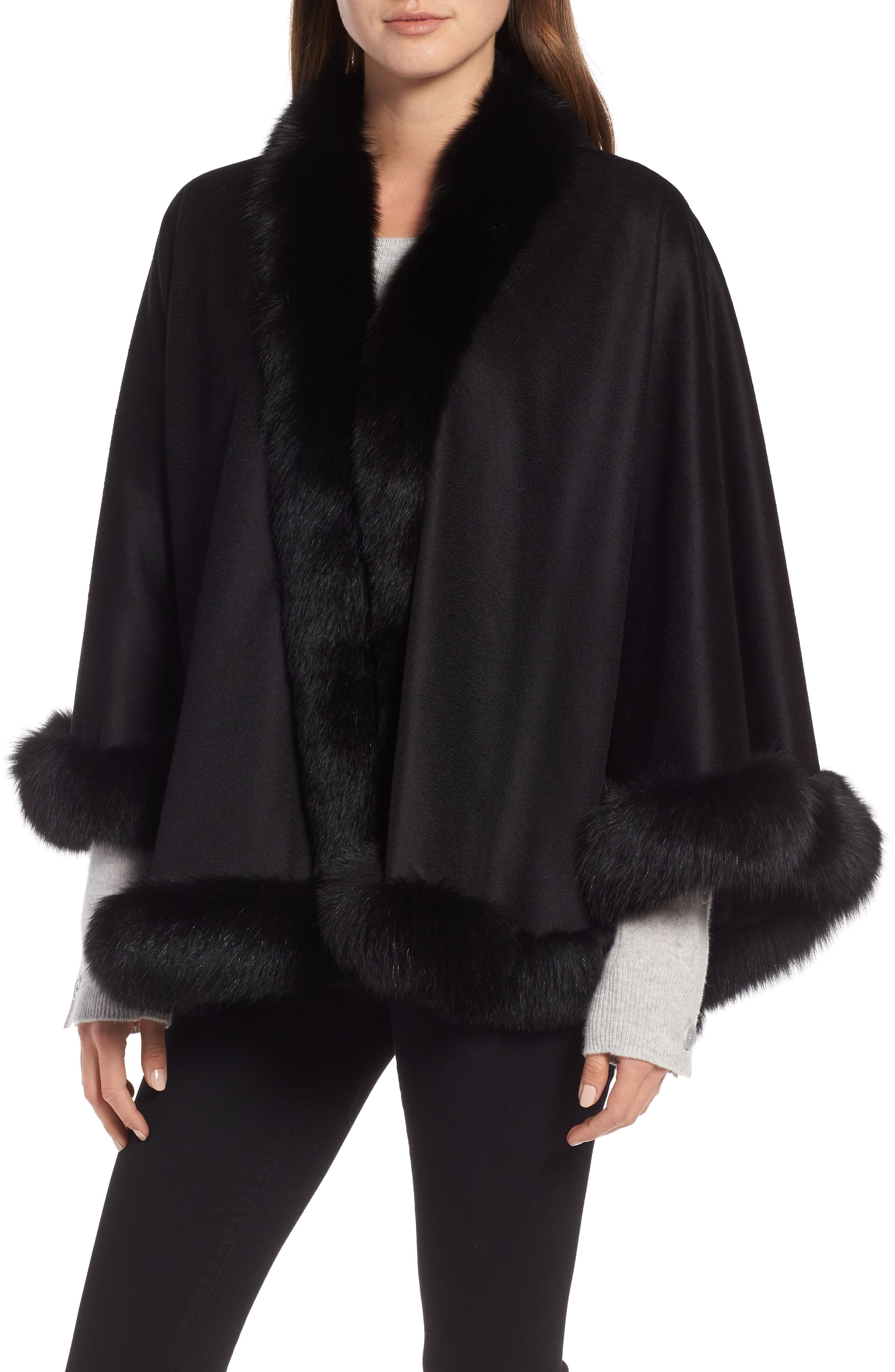 Petite Genuine Fox Fur Trim Cashmere Cape, Main, color, BLACK