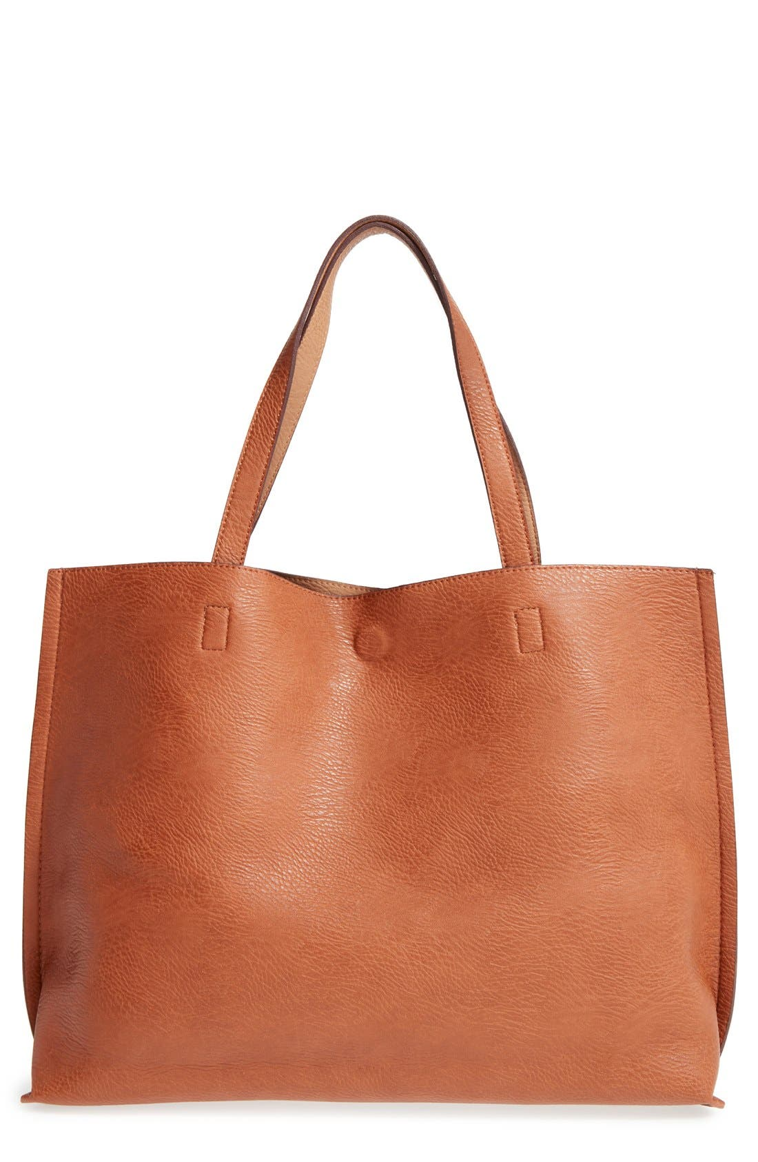 STREET LEVEL,                             Reversible Faux Leather Tote & Wristlet,                             Alternate thumbnail 3, color,                             COGNAC