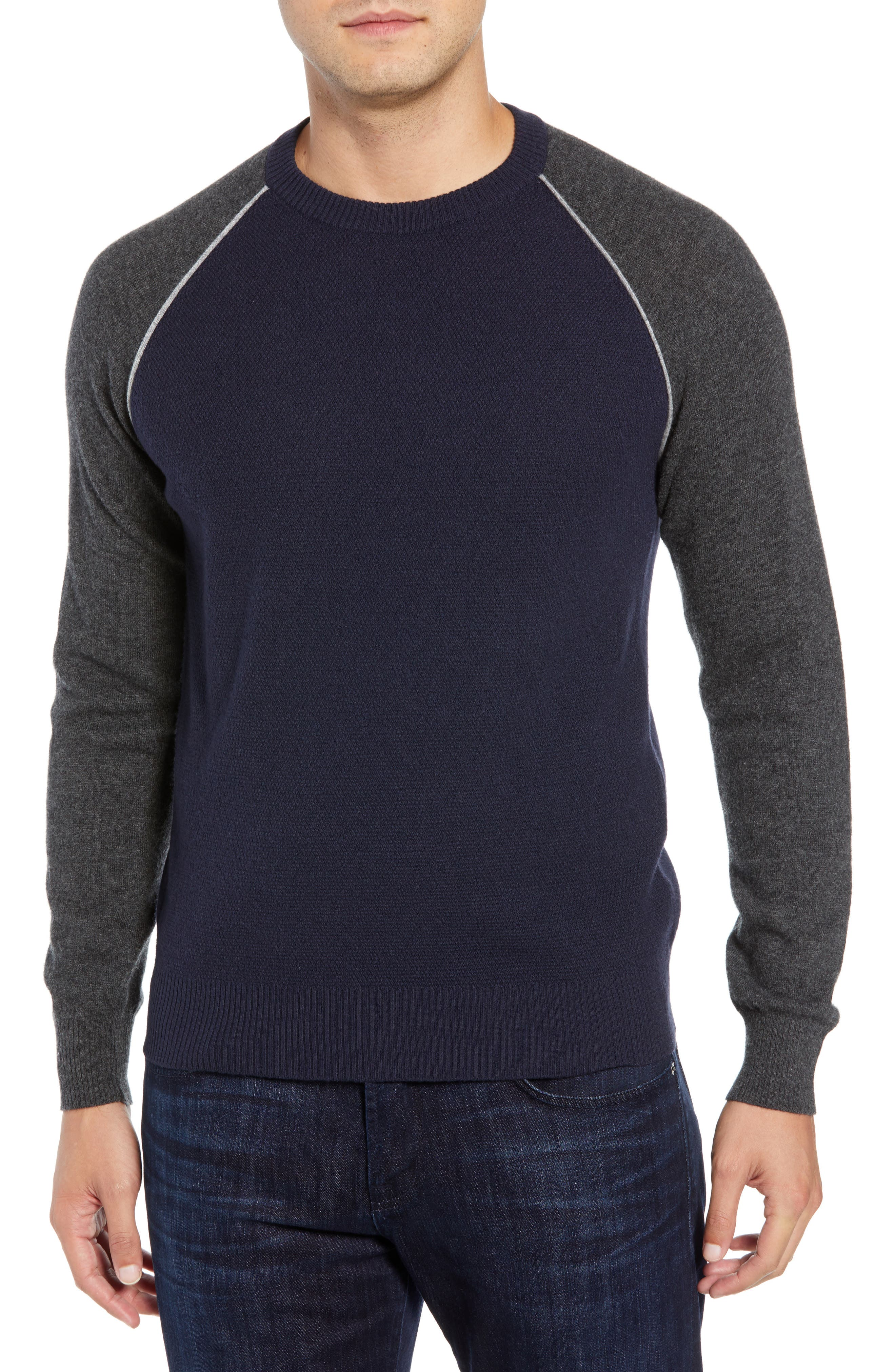 LUCIANO BARBERA Active Crewneck Wool & Cashmere Sweater in Navy