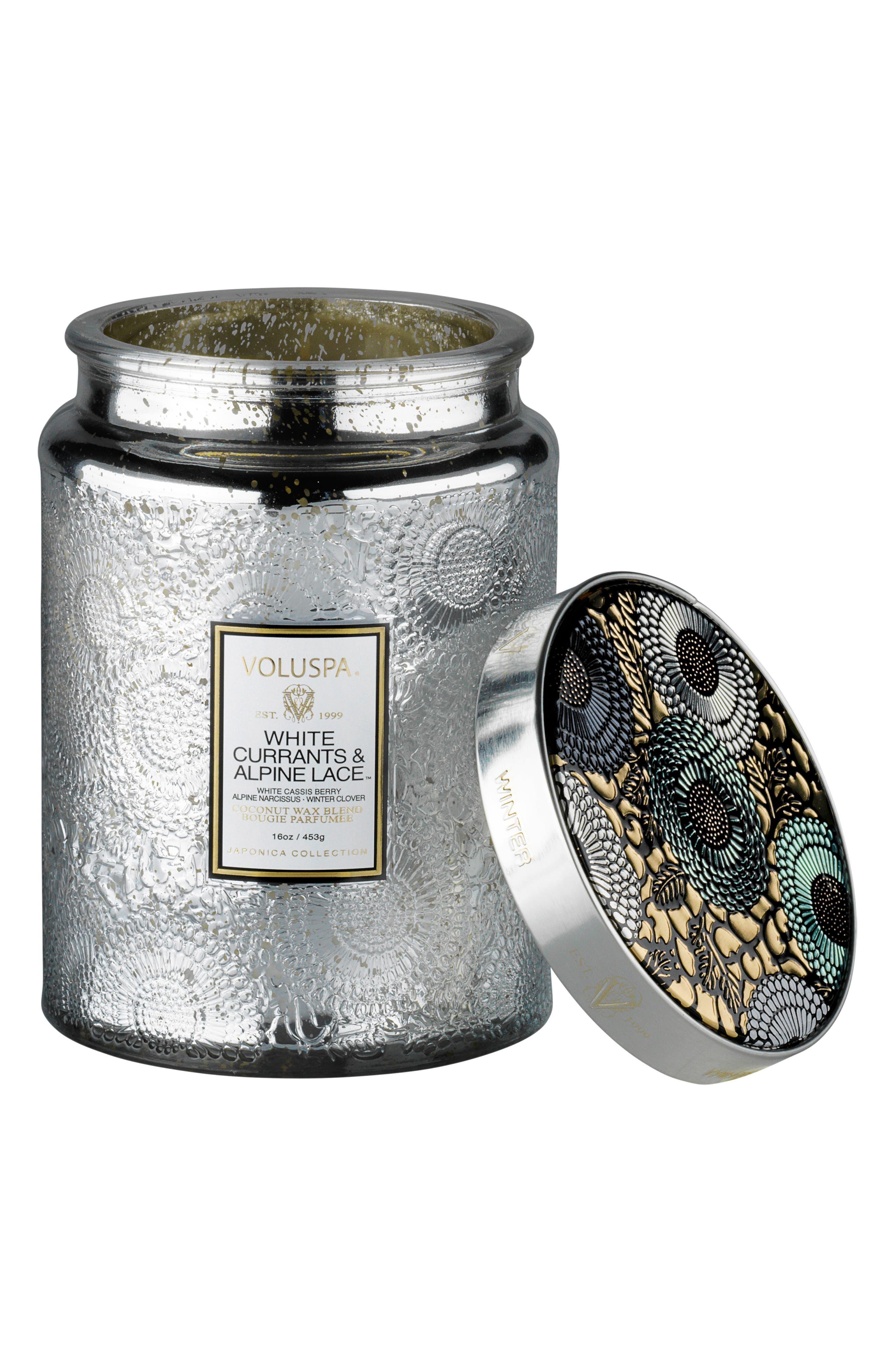 Japonica Large Glass Jar Candle,                             Main thumbnail 1, color,                             WHITE CASSIS/ALPINE LACE