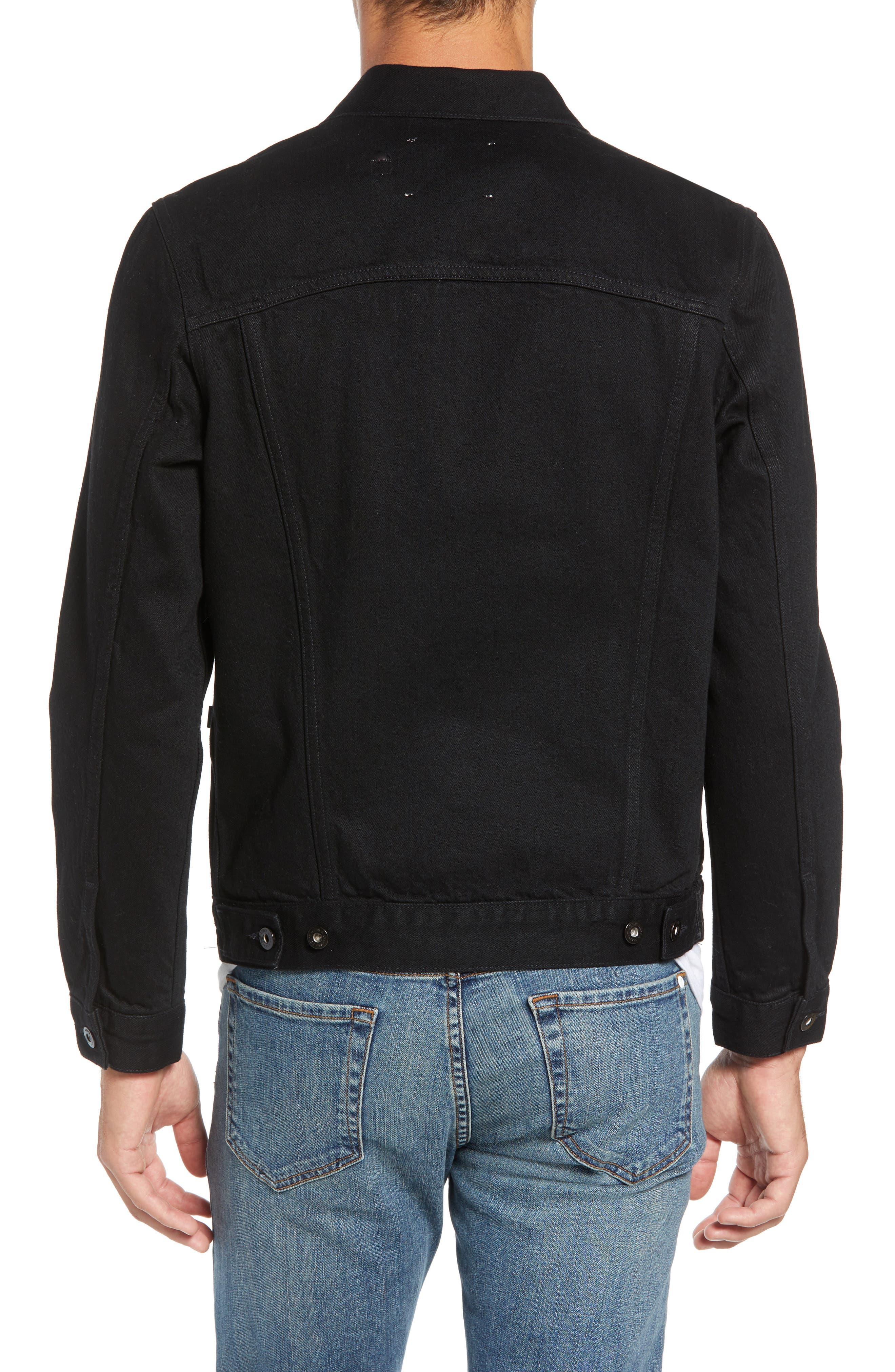 Type II<sup>™</sup> Worn Trucker Regular Fit Denim Jacket,                             Alternate thumbnail 2, color,                             NERO NERO