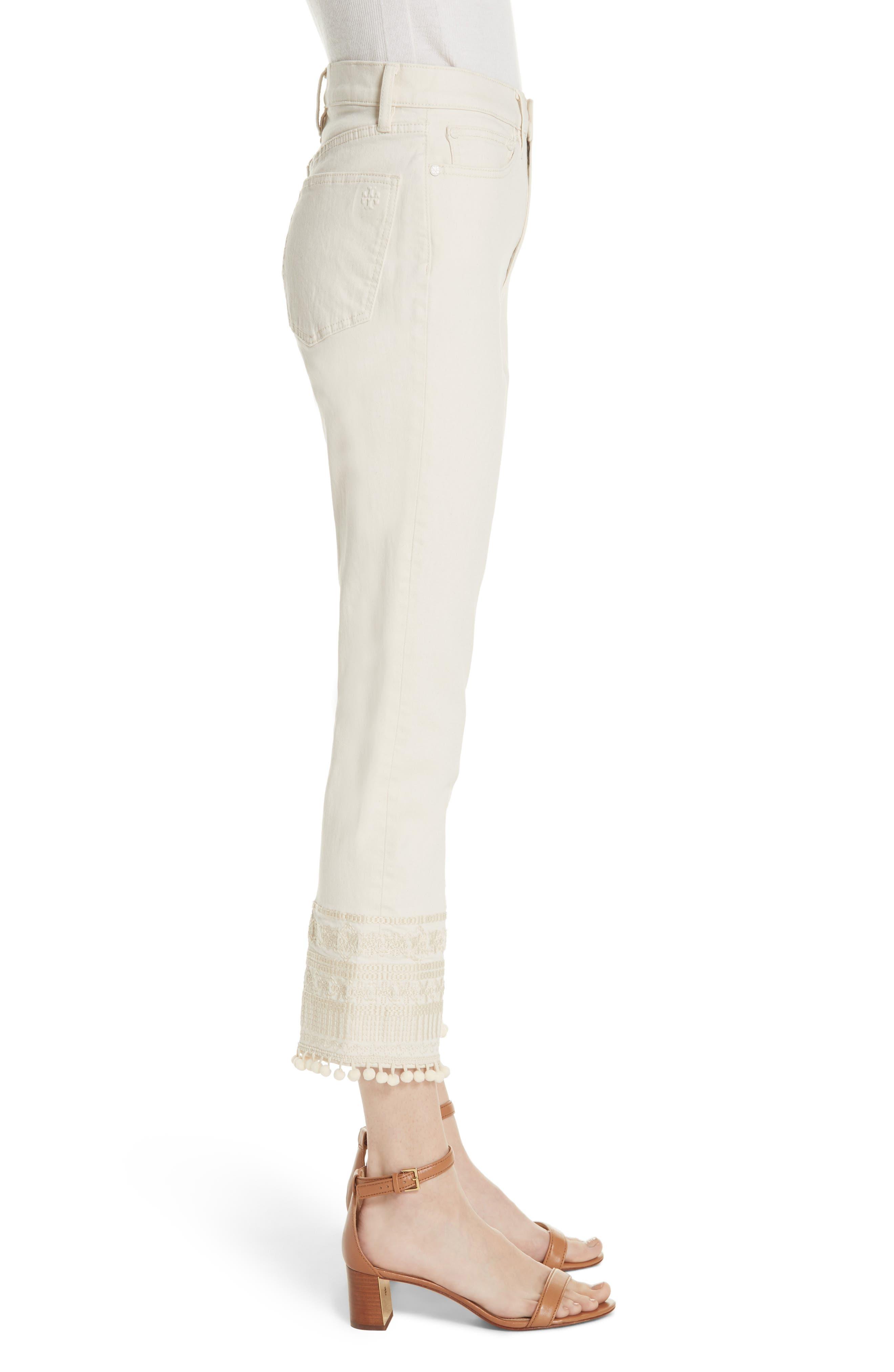 Lana Embellished Hem Jeans,                             Alternate thumbnail 3, color,                             104