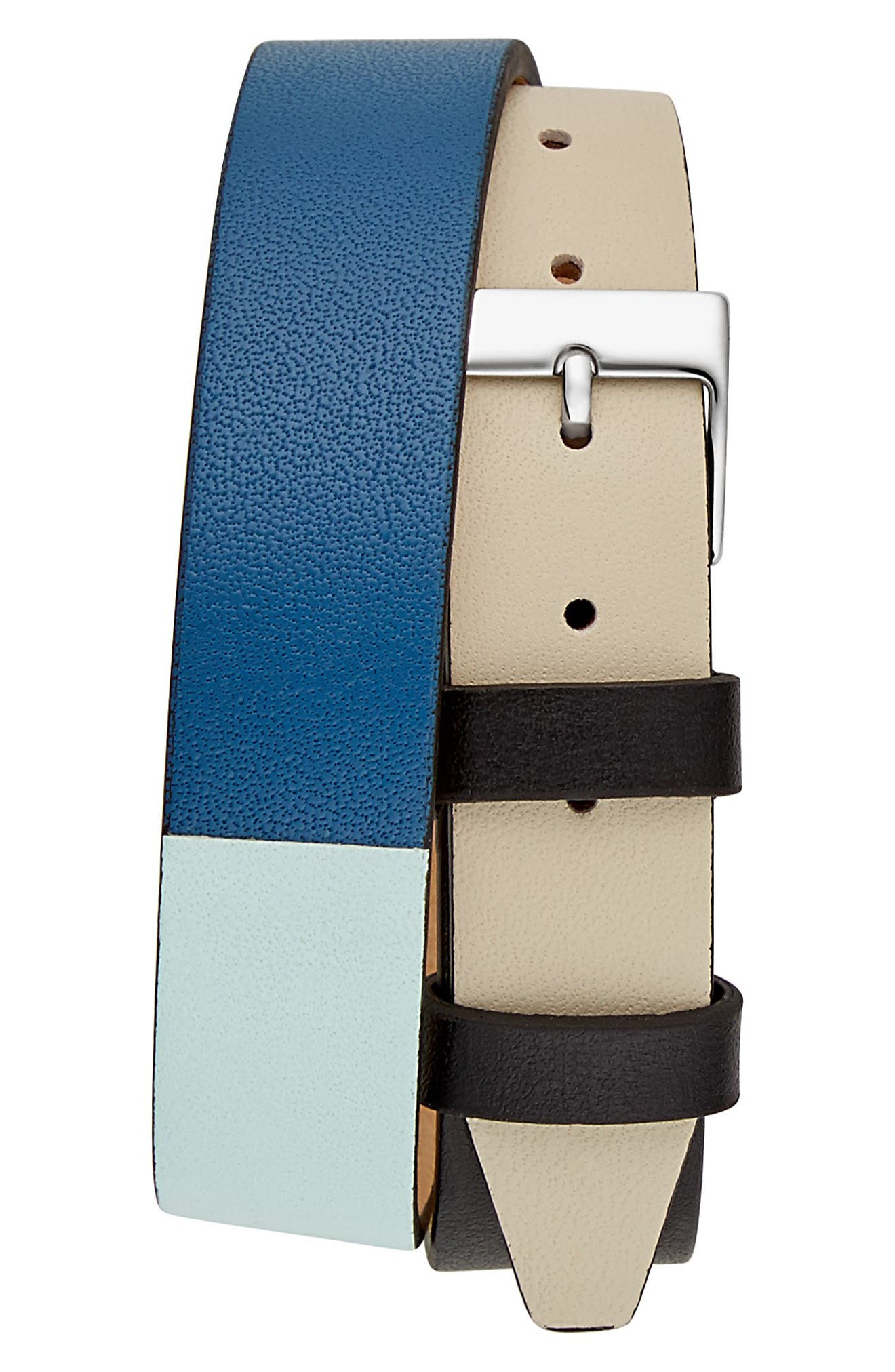 Moment Wrap Leather Strap Watch,,                             Alternate thumbnail 2, color,                             MULTI/ WHITE/ SILVER