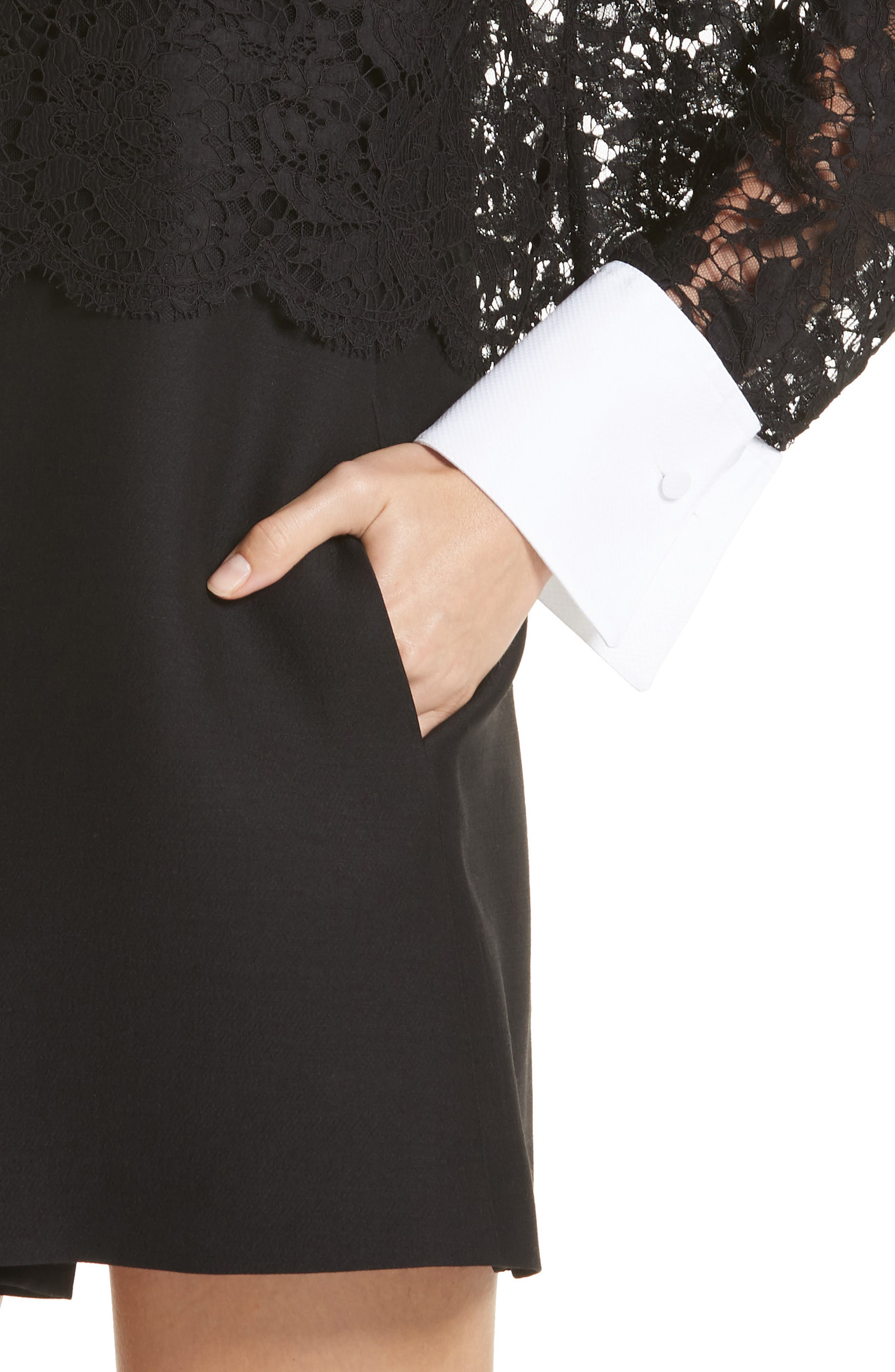 Contrast Collar Lace & Crepe Couture Dress,                             Alternate thumbnail 4, color,                             BLACK