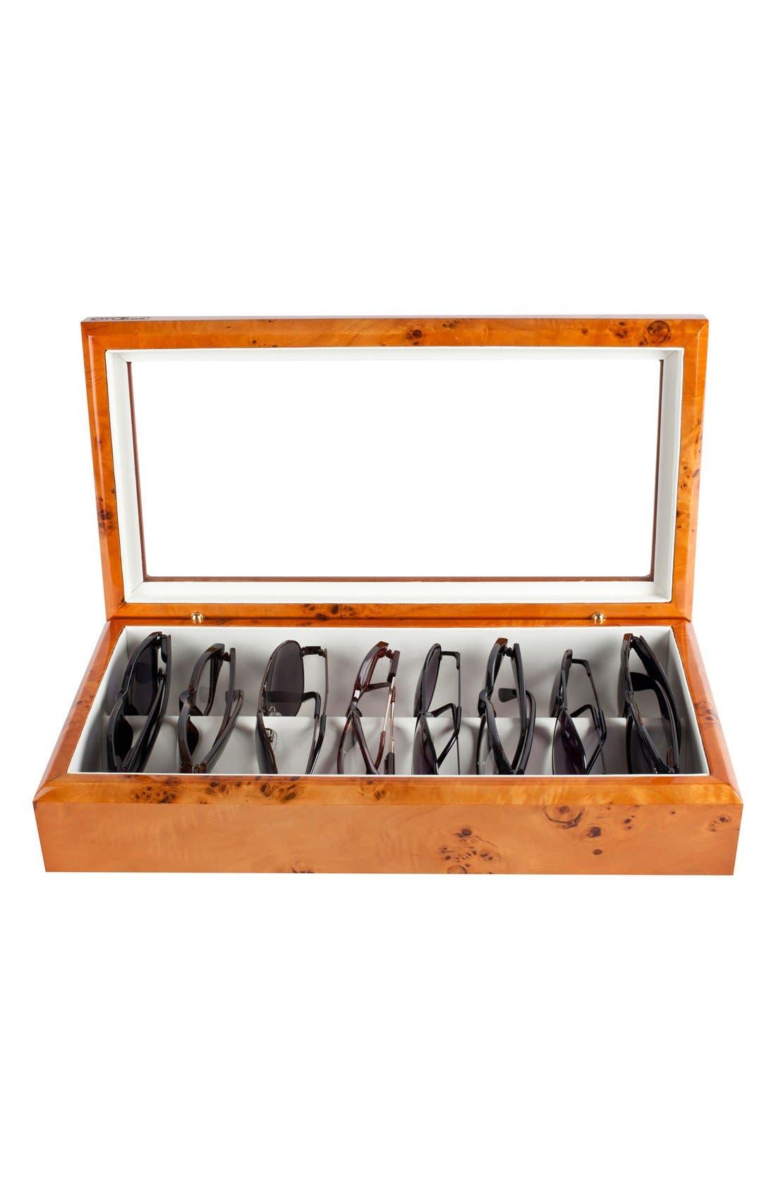 Lacquered Wood Window Top Eyewear Organizer Case,                             Alternate thumbnail 8, color,