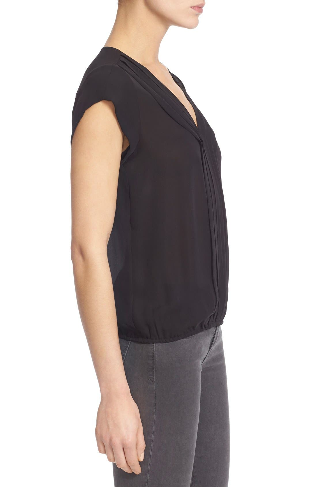 'Marcher' Pleated Silk Top,                             Alternate thumbnail 3, color,                             002
