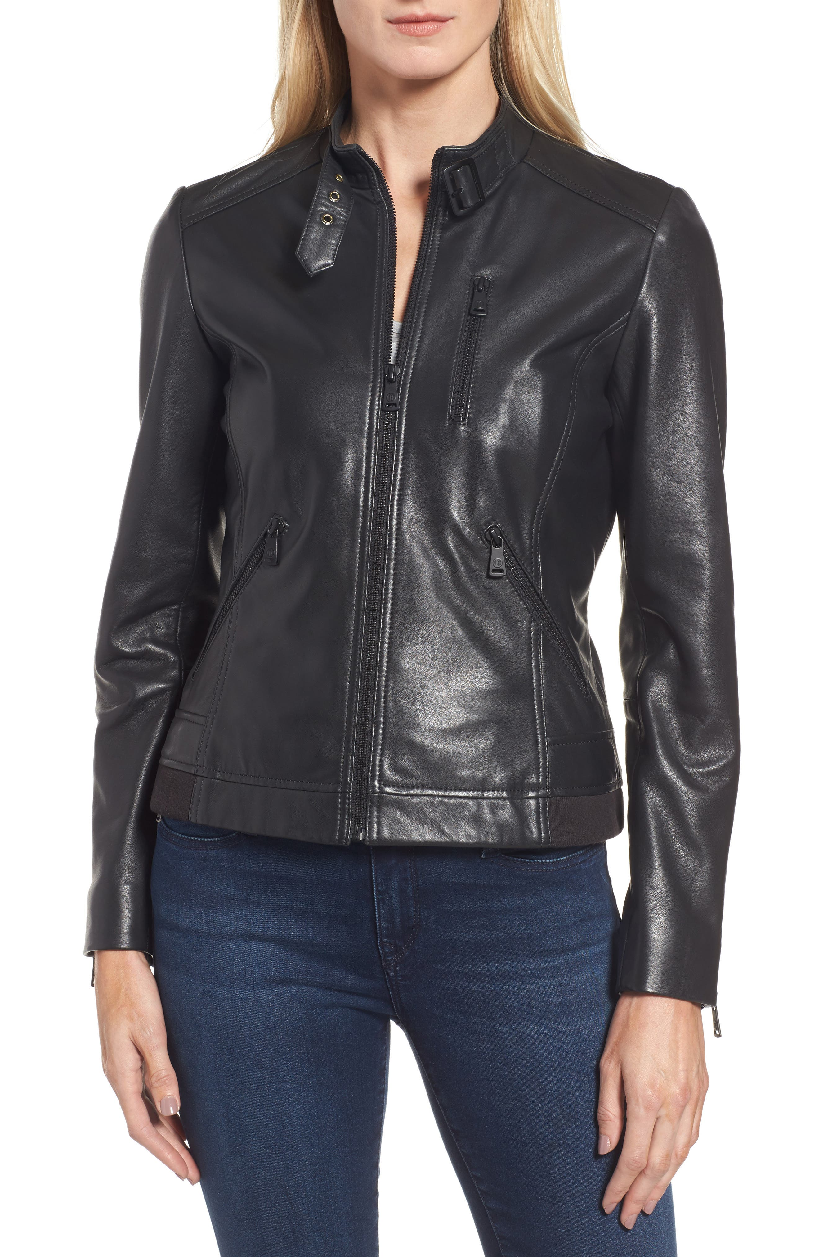 Jetta Knit Detail Leather Scuba Jacket,                         Main,                         color, 001
