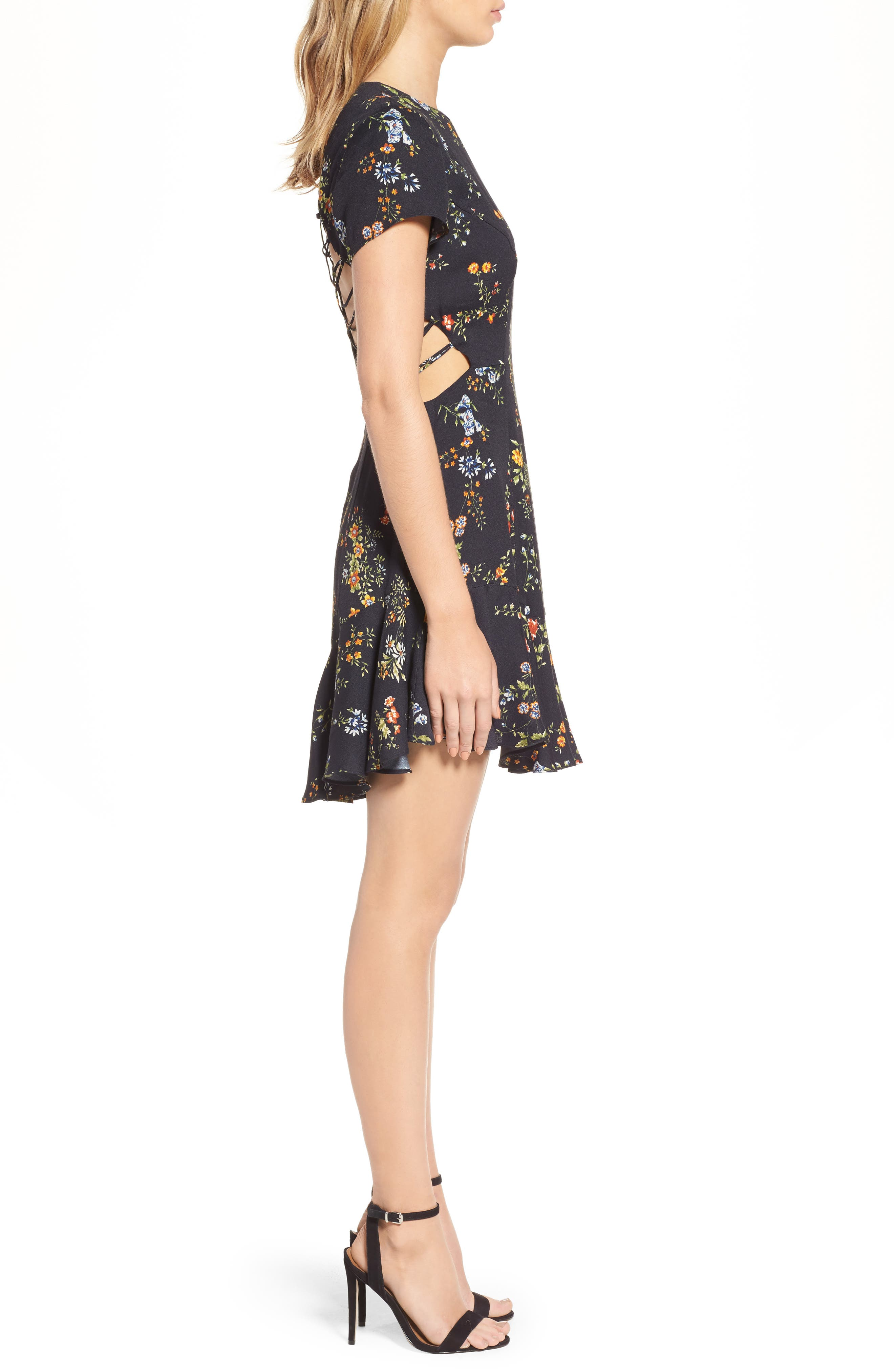 Chelsea Lattice Back Fit & Flare Dress,                             Alternate thumbnail 10, color,