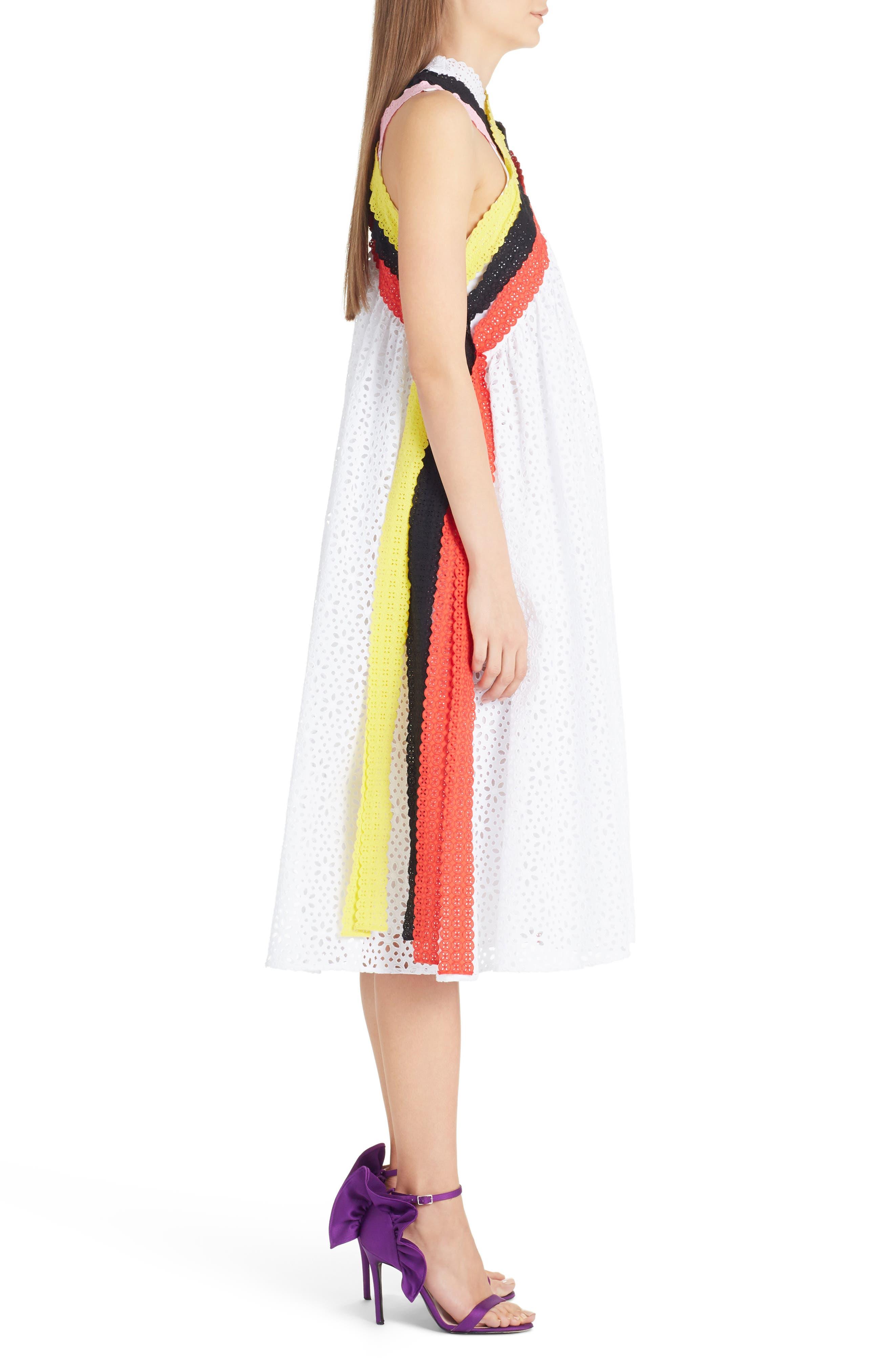 Multicolor Eyelet Midi Dress,                             Alternate thumbnail 3, color,                             101