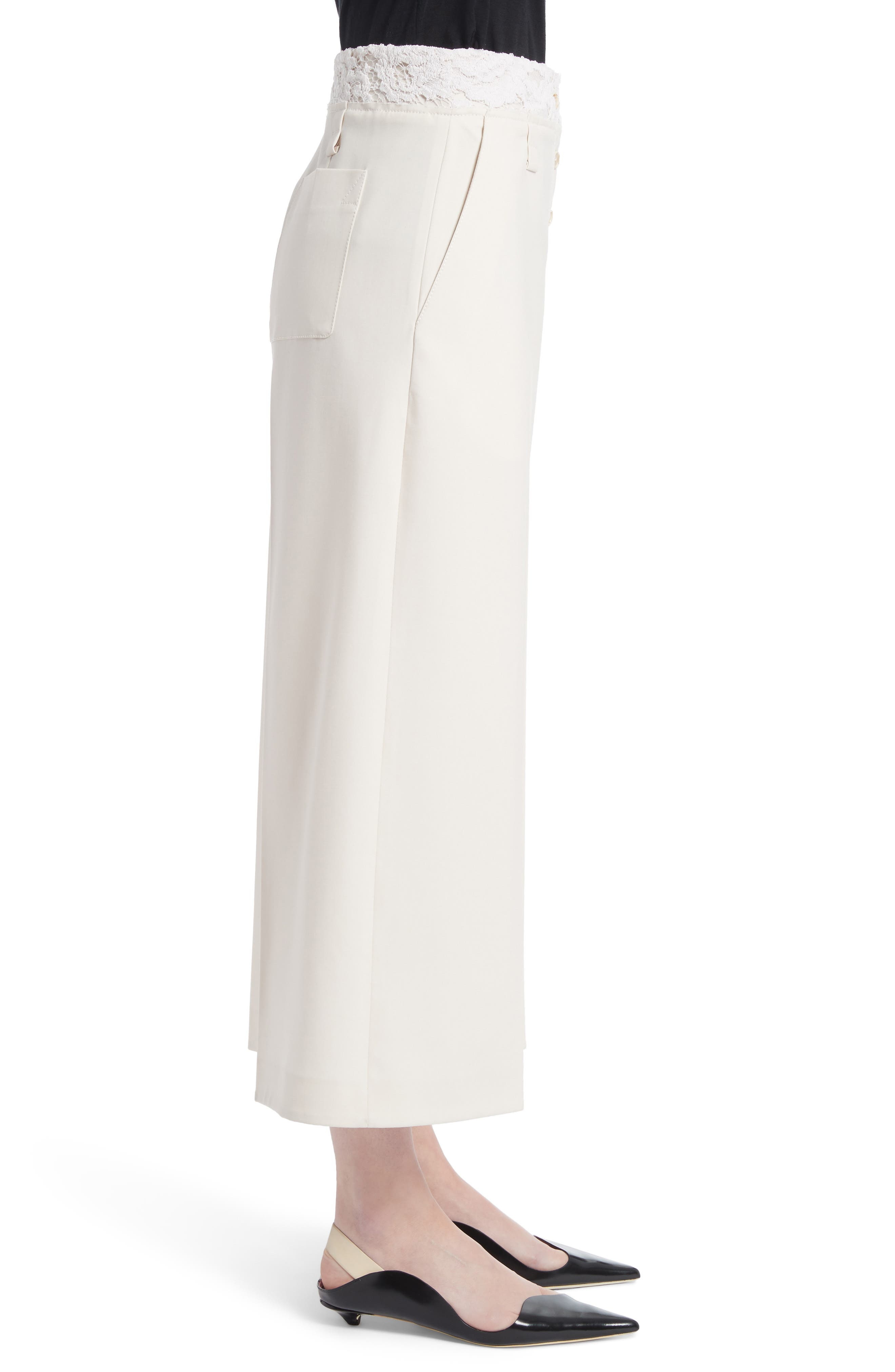 Lace Trim Stretch Wool Culottes,                             Alternate thumbnail 3, color,                             107