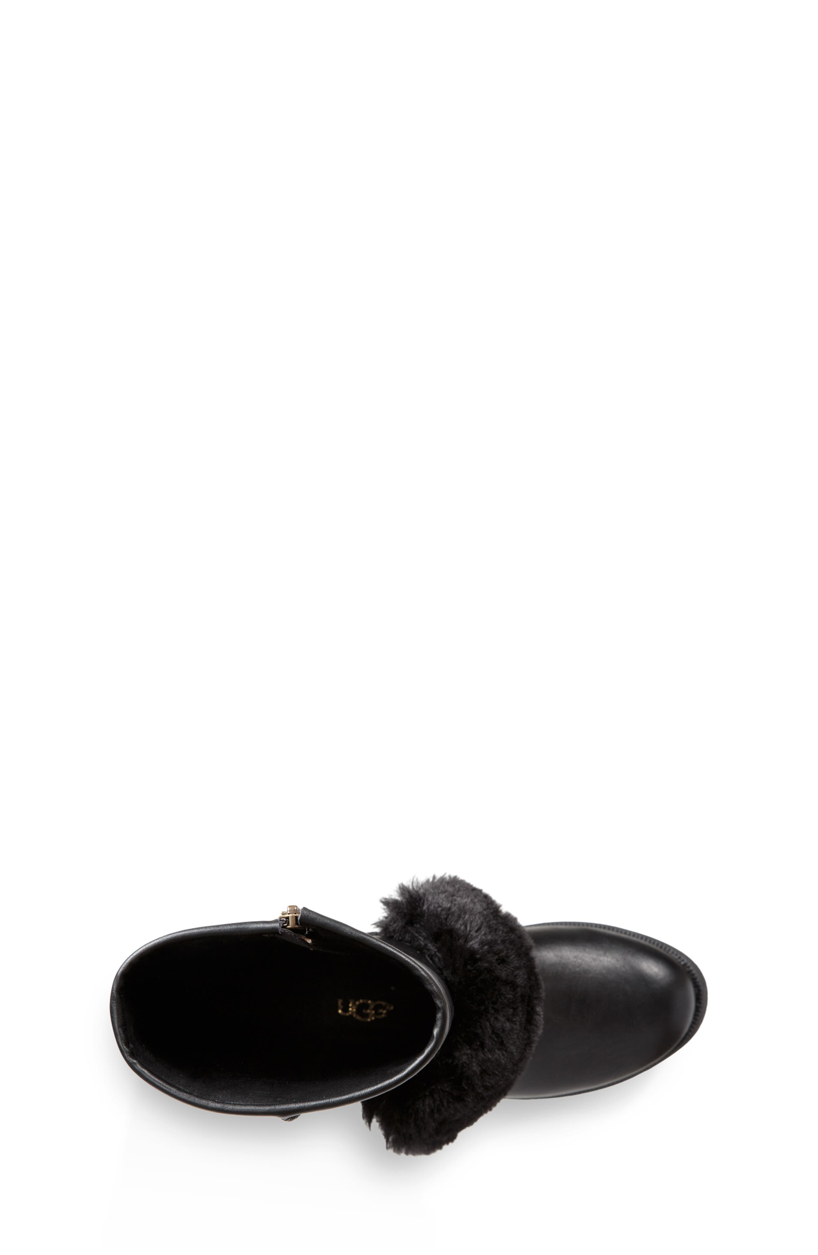 Lili Faux Shearling Boot,                             Alternate thumbnail 4, color,                             BLACK