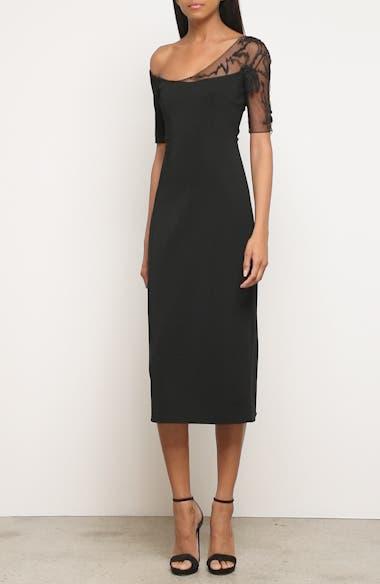Embellished Mesh One-Shoulder Sheath Dress, video thumbnail