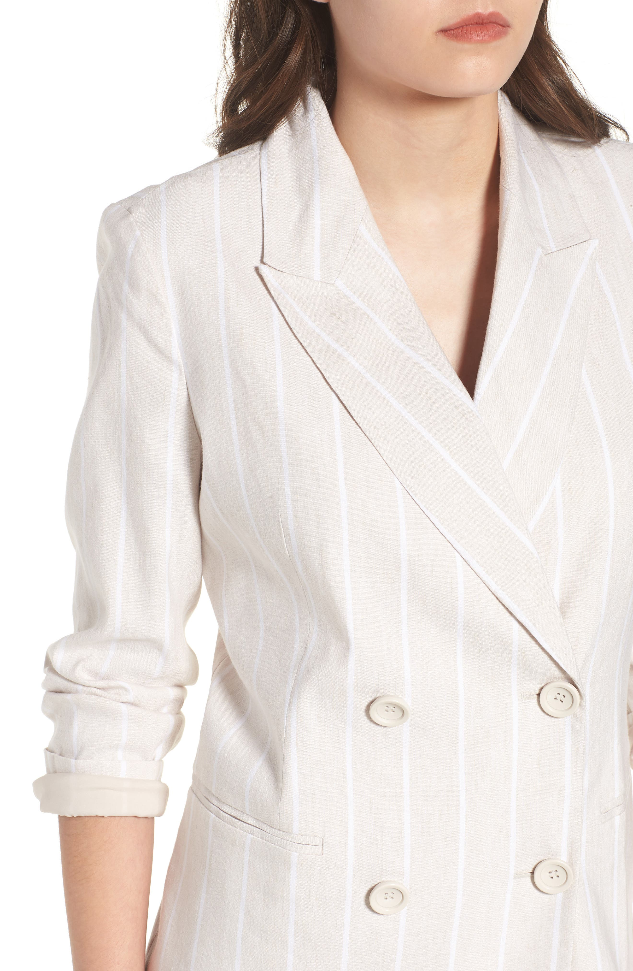 Double Breasted Linen Blend Blazer,                             Alternate thumbnail 17, color,