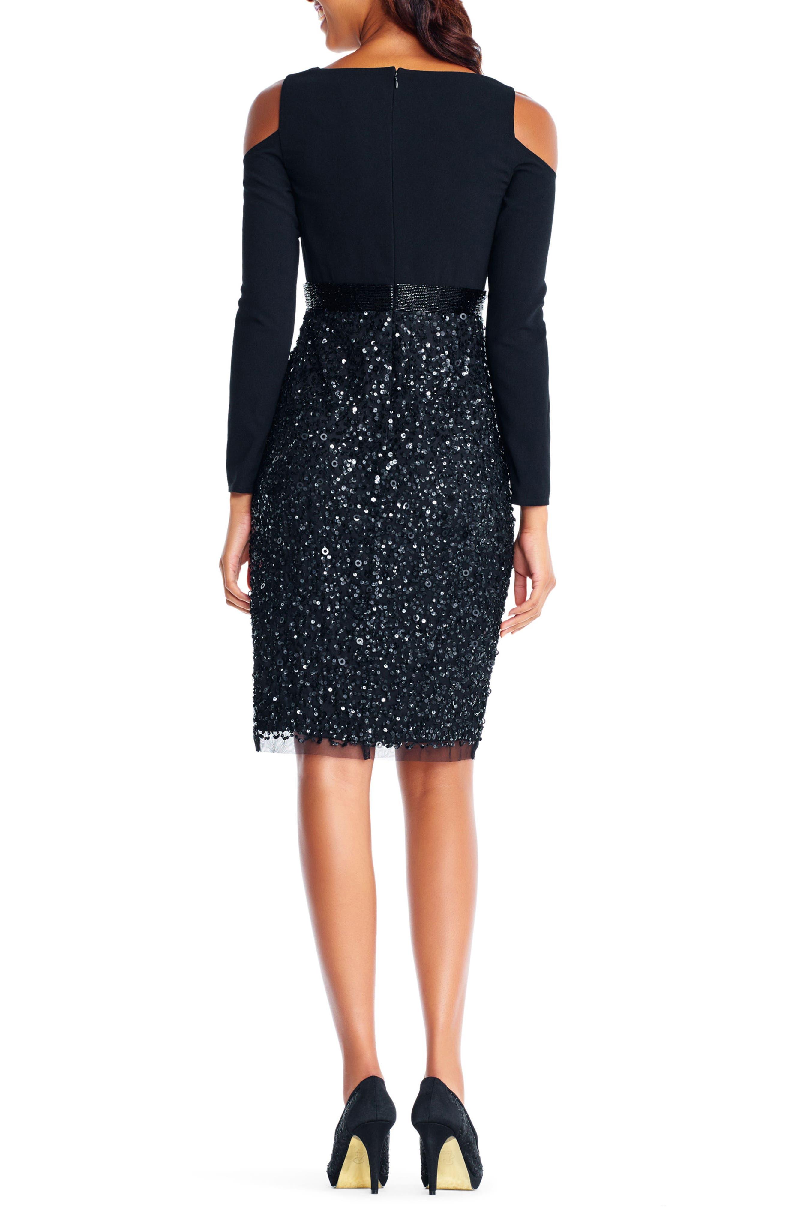 Embellished Cold Shoulder Dress,                             Alternate thumbnail 2, color,                             002