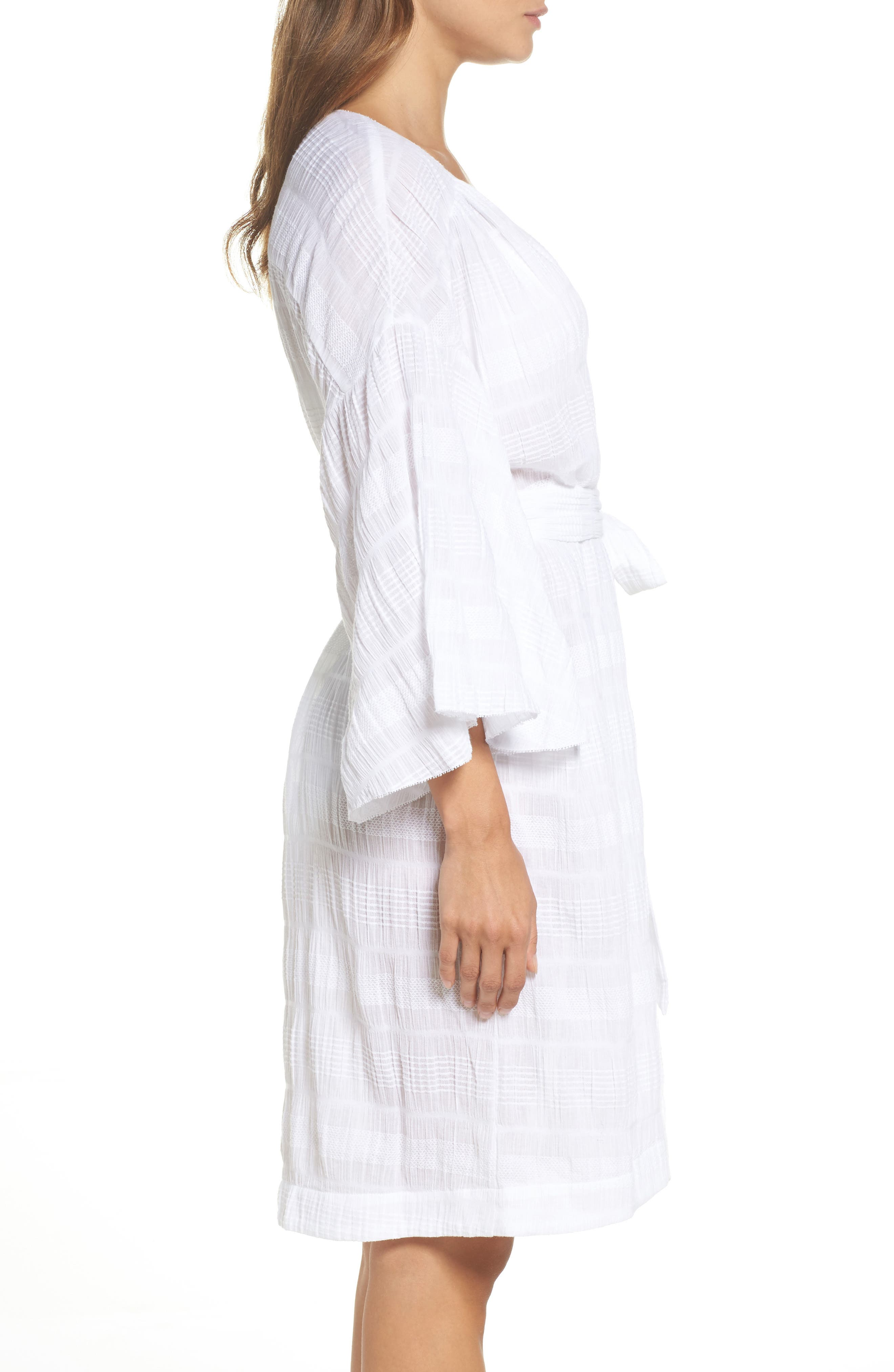 Nina Gauze Short Robe,                             Alternate thumbnail 3, color,                             100