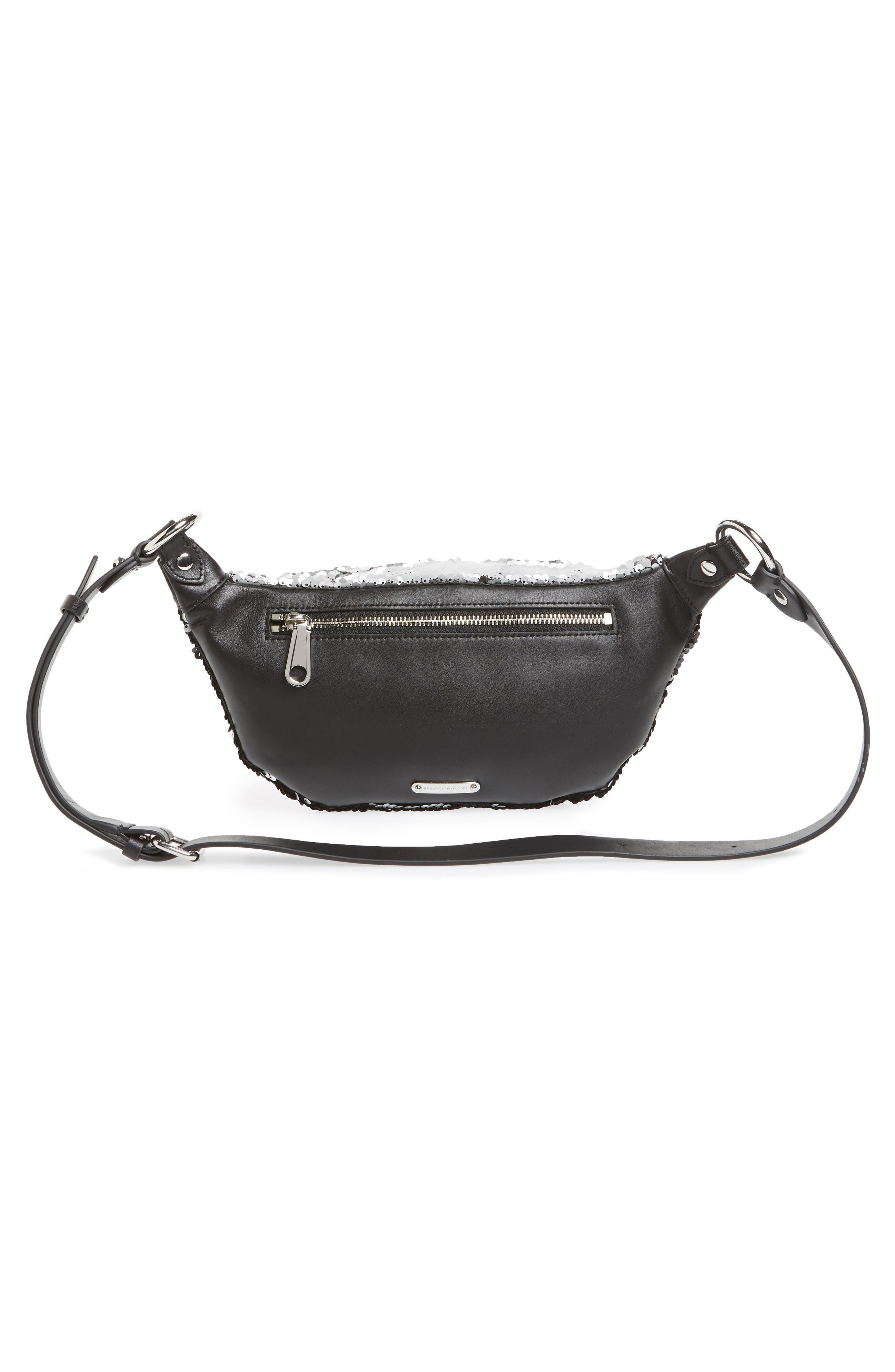 Sequin Belt Bag,                             Alternate thumbnail 4, color,                             SILVER