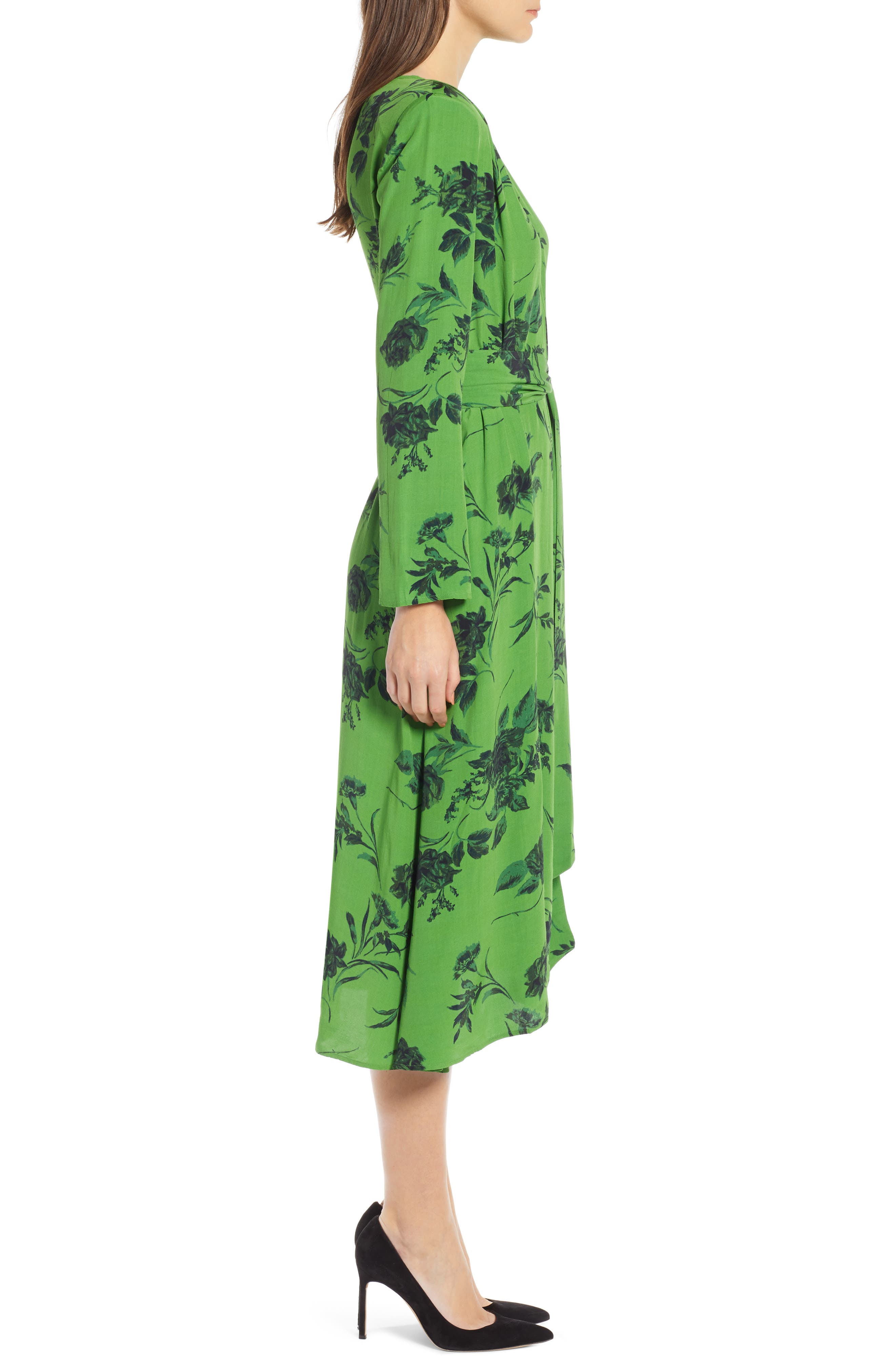 Belted Midi Dress,                             Alternate thumbnail 4, color,                             GREEN ENERGY TONAL FLORAL