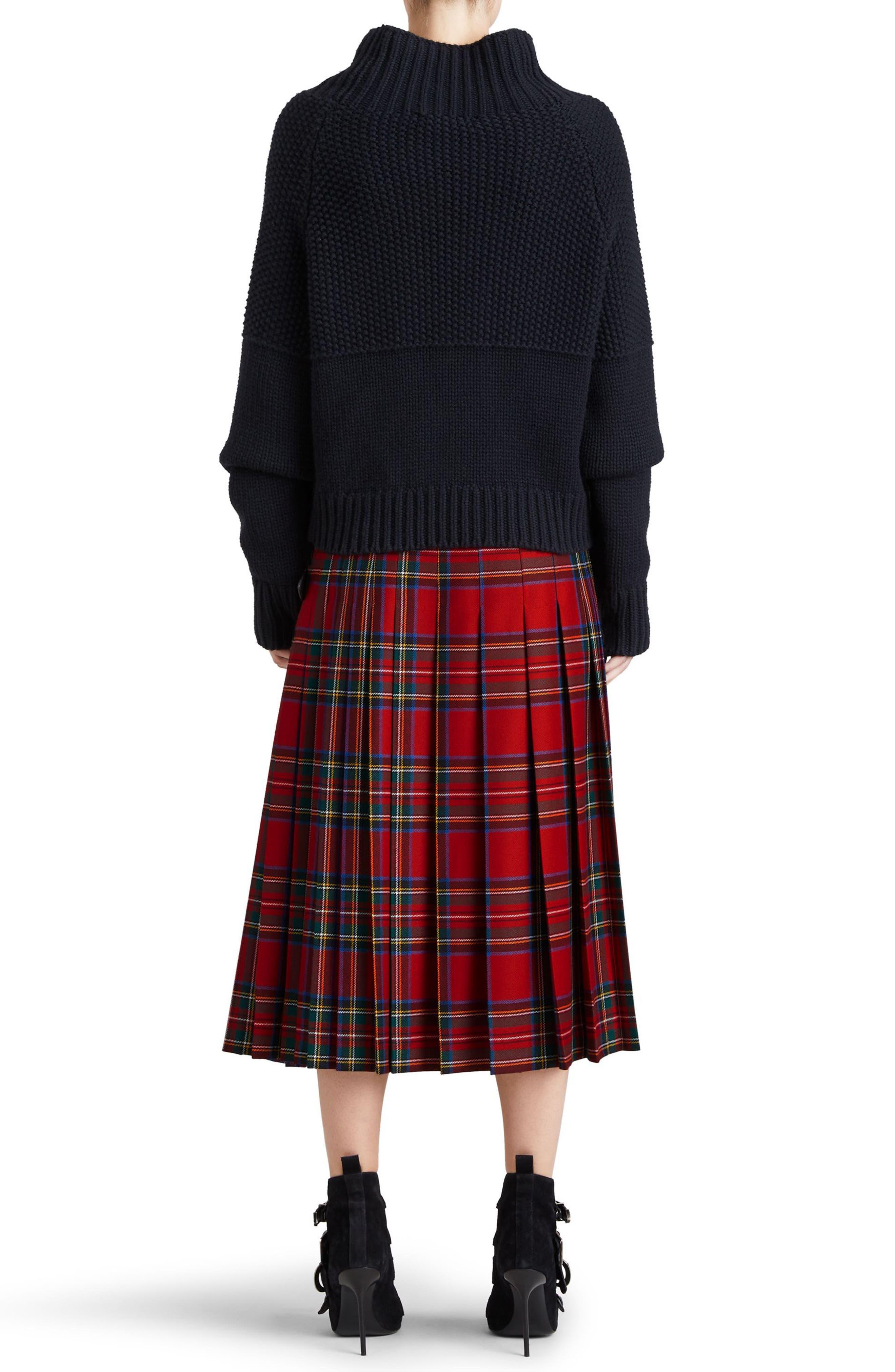 Taybridge Pleated Plaid Wool Midi Skirt,                             Alternate thumbnail 2, color,                             622