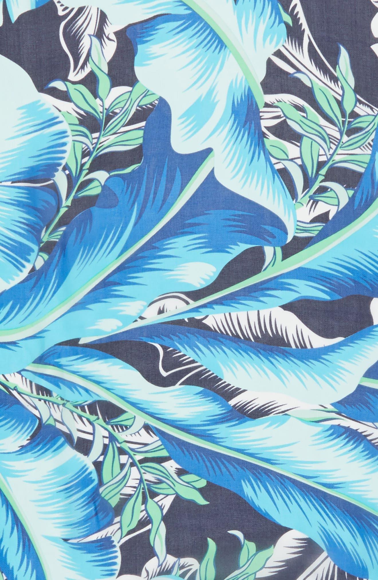 Palm Print Silk Triangle Scarf,                             Alternate thumbnail 4, color,                             400