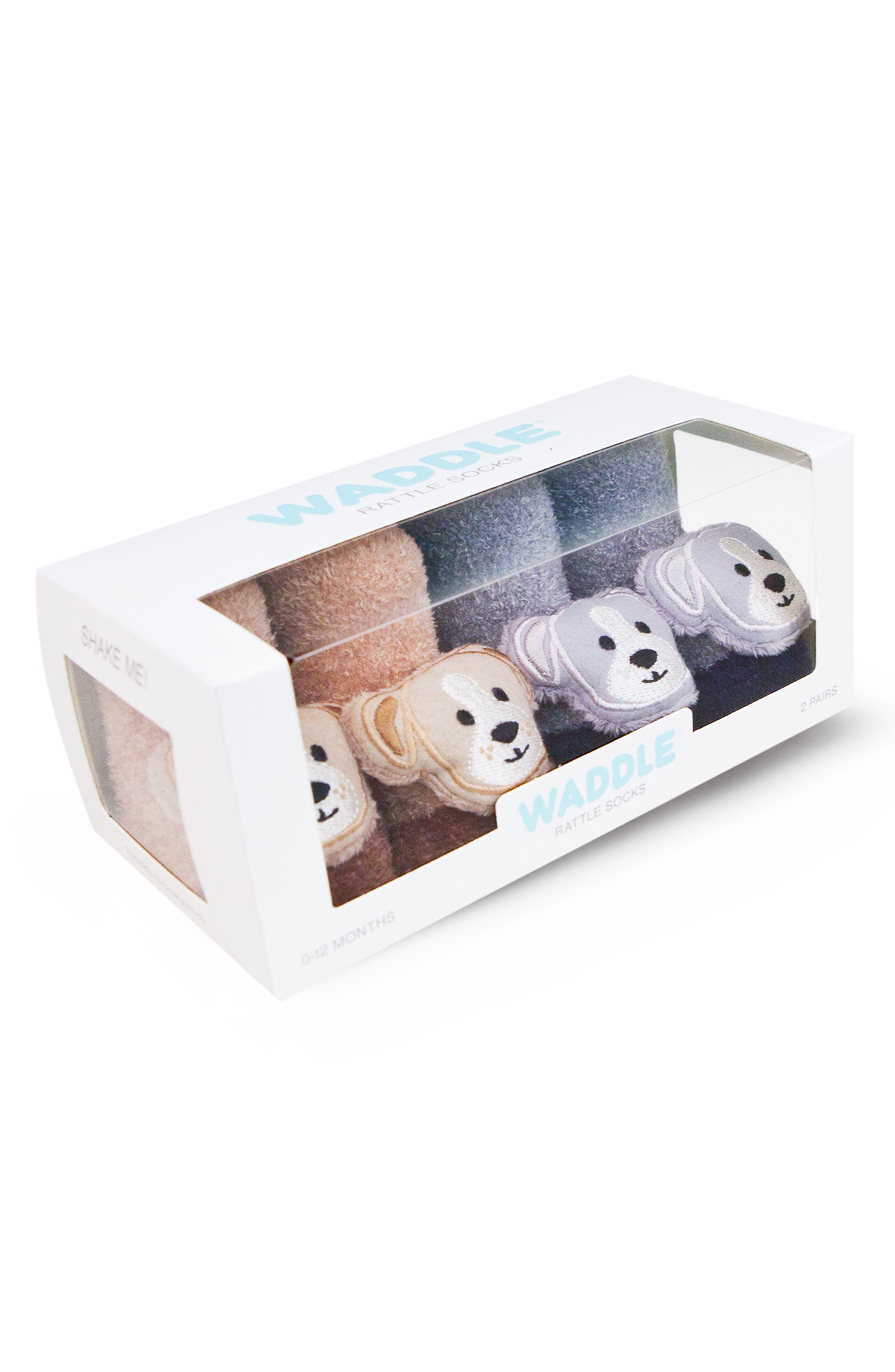 2-Pack Animal Rattle Socks,                             Alternate thumbnail 2, color,                             BROWN/ GREY