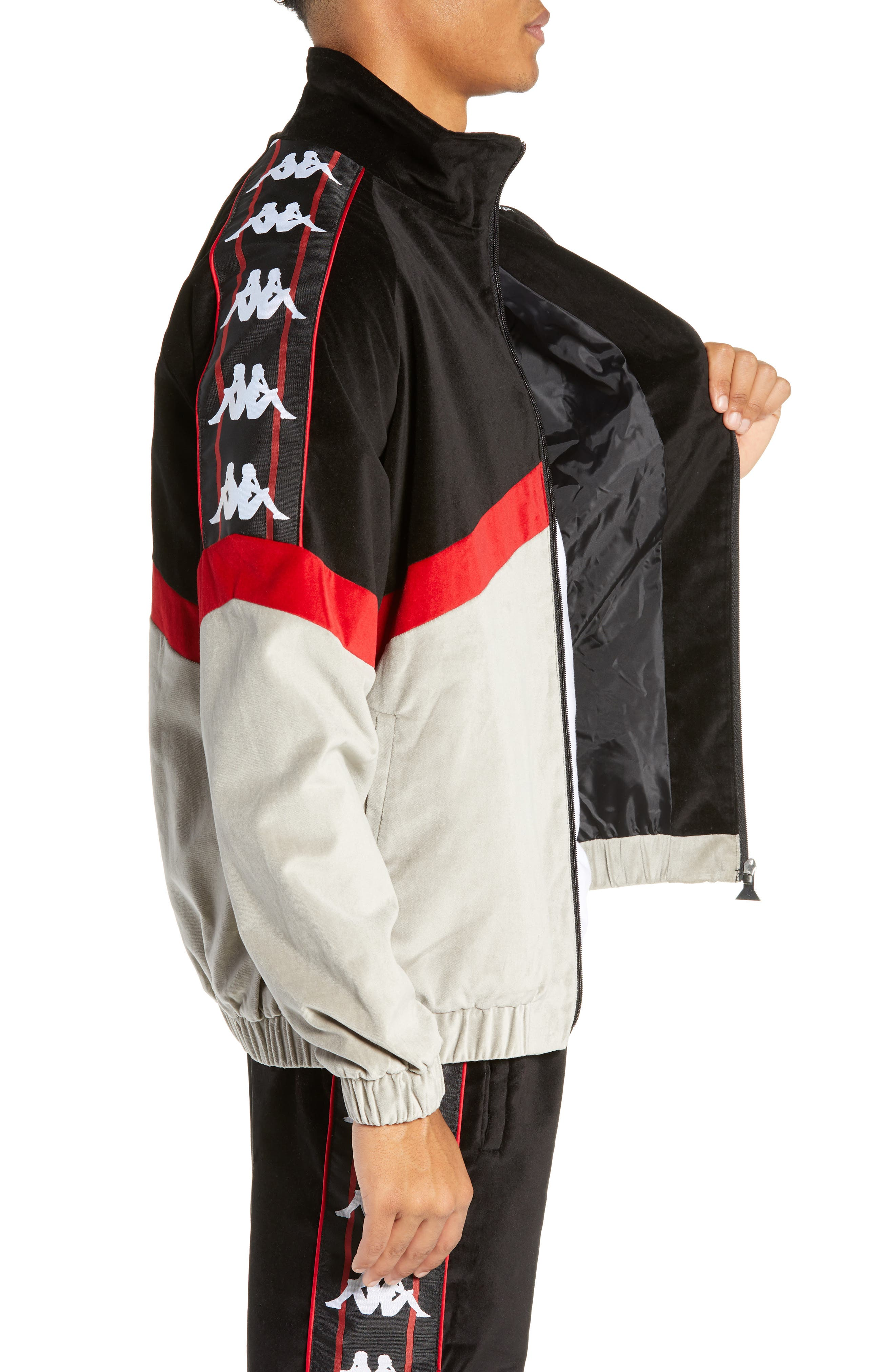 Authentic Cabrini Track Jacket,                             Alternate thumbnail 3, color,                             BLACK/ RED/ GREY