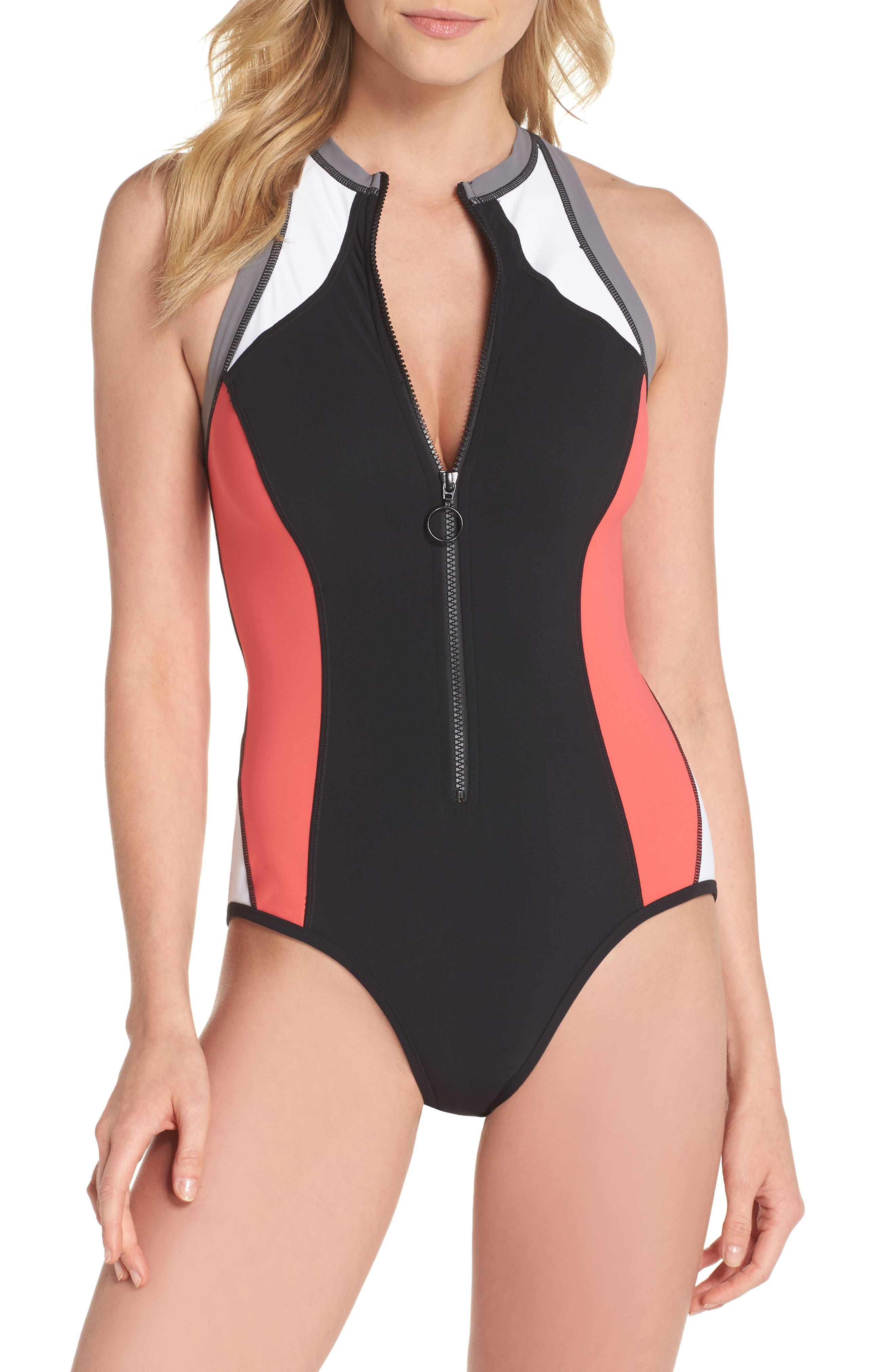 Resist Me Zip Front Surf One-Piece Swimsuit,                         Main,                         color, 001