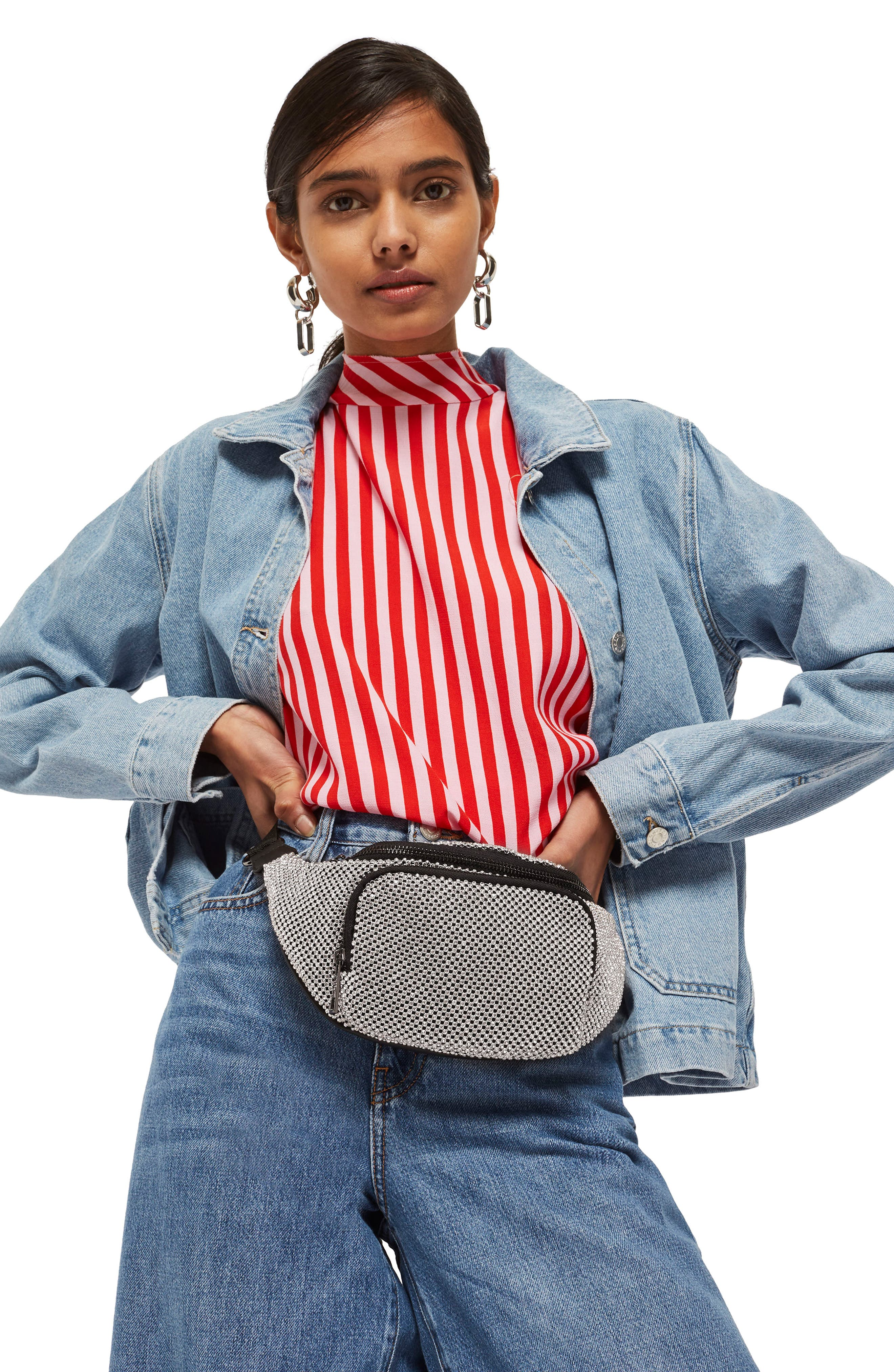 Diana Diamante Chainmail Bum Bag,                             Alternate thumbnail 2, color,