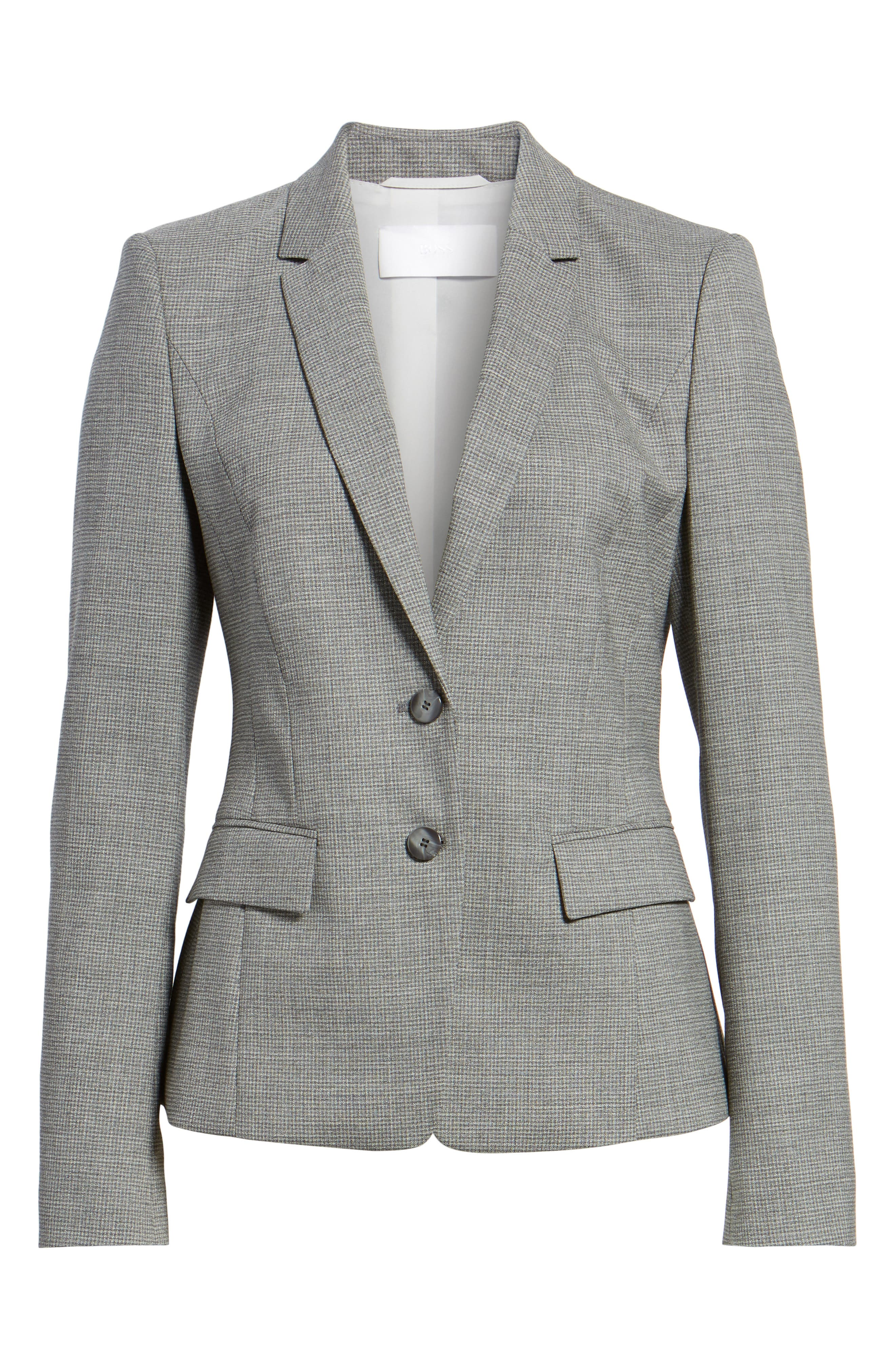 Jewisa Check Wool Jacket,                             Alternate thumbnail 5, color,                             066