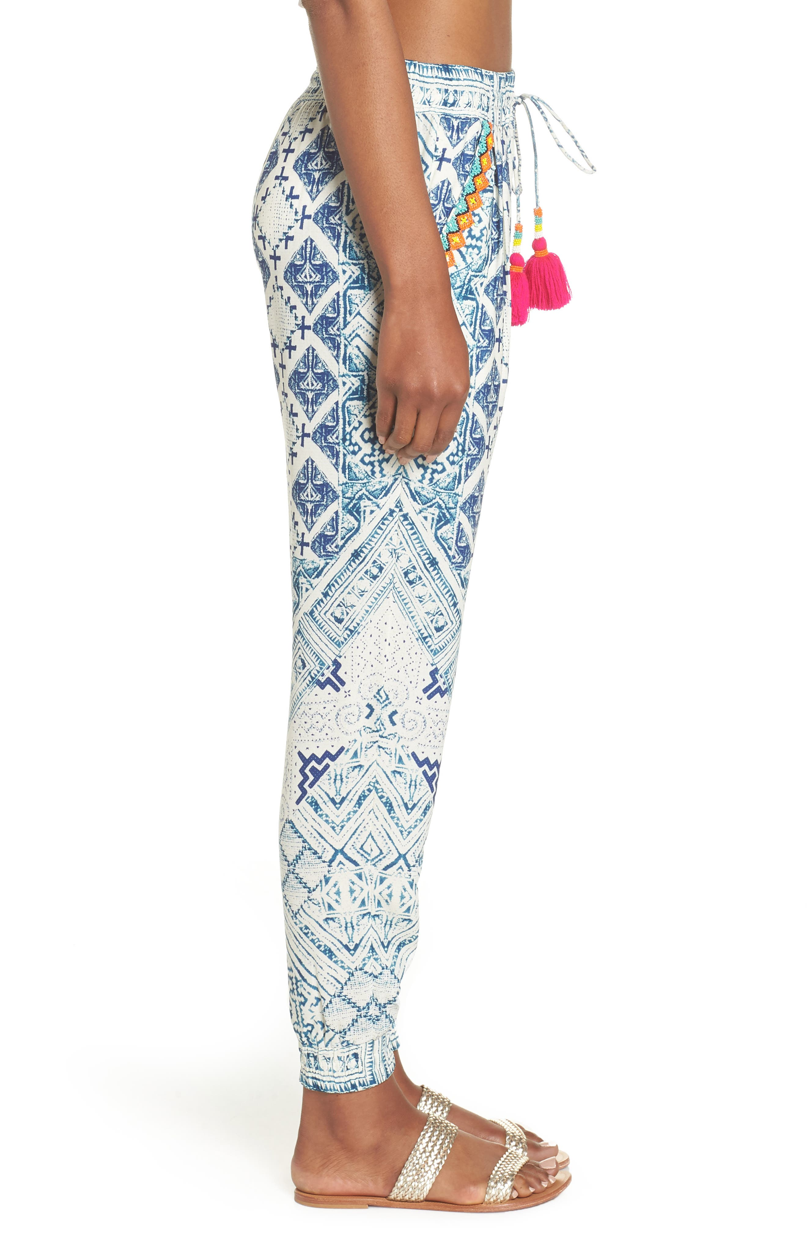 Hemant & Nandita Tasseled Cover-Up Pants,                             Alternate thumbnail 3, color,                             405
