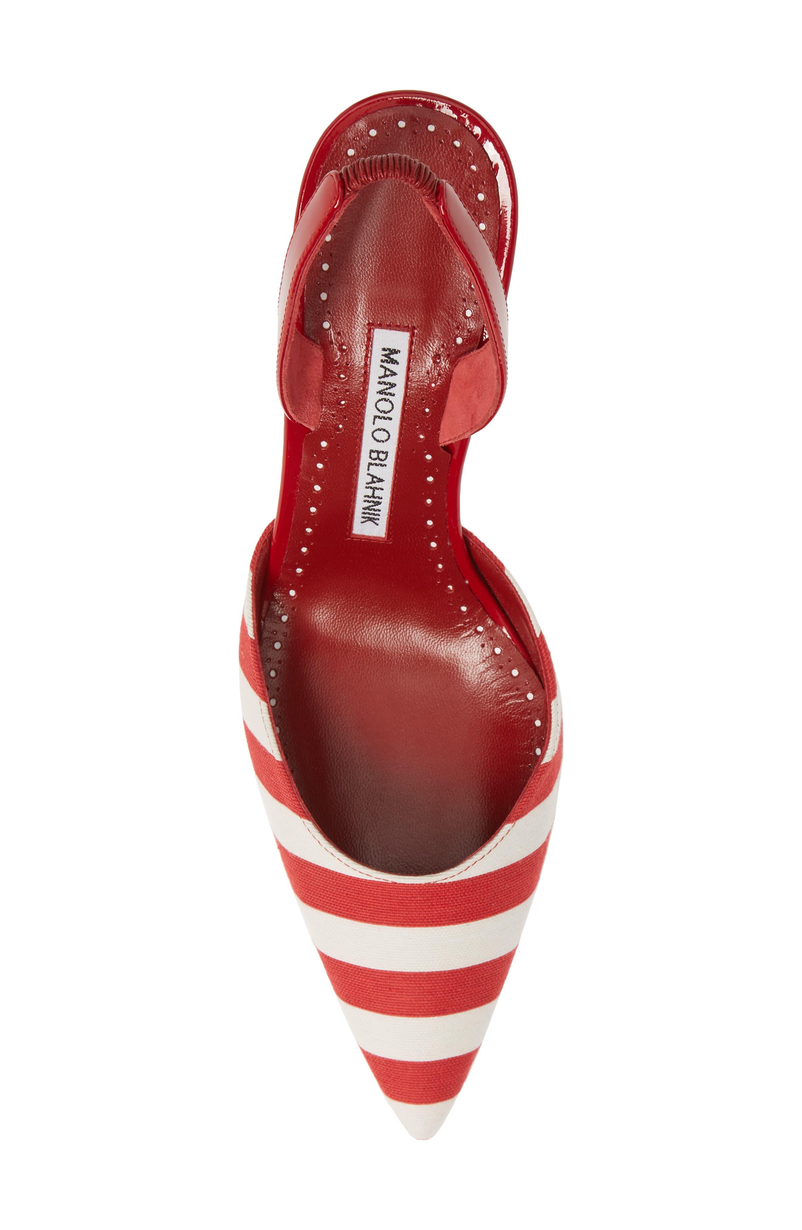 'Carolyne' Pointy Toe Slingback Pump,                             Alternate thumbnail 5, color,                             RED/ WHITE STRIPE