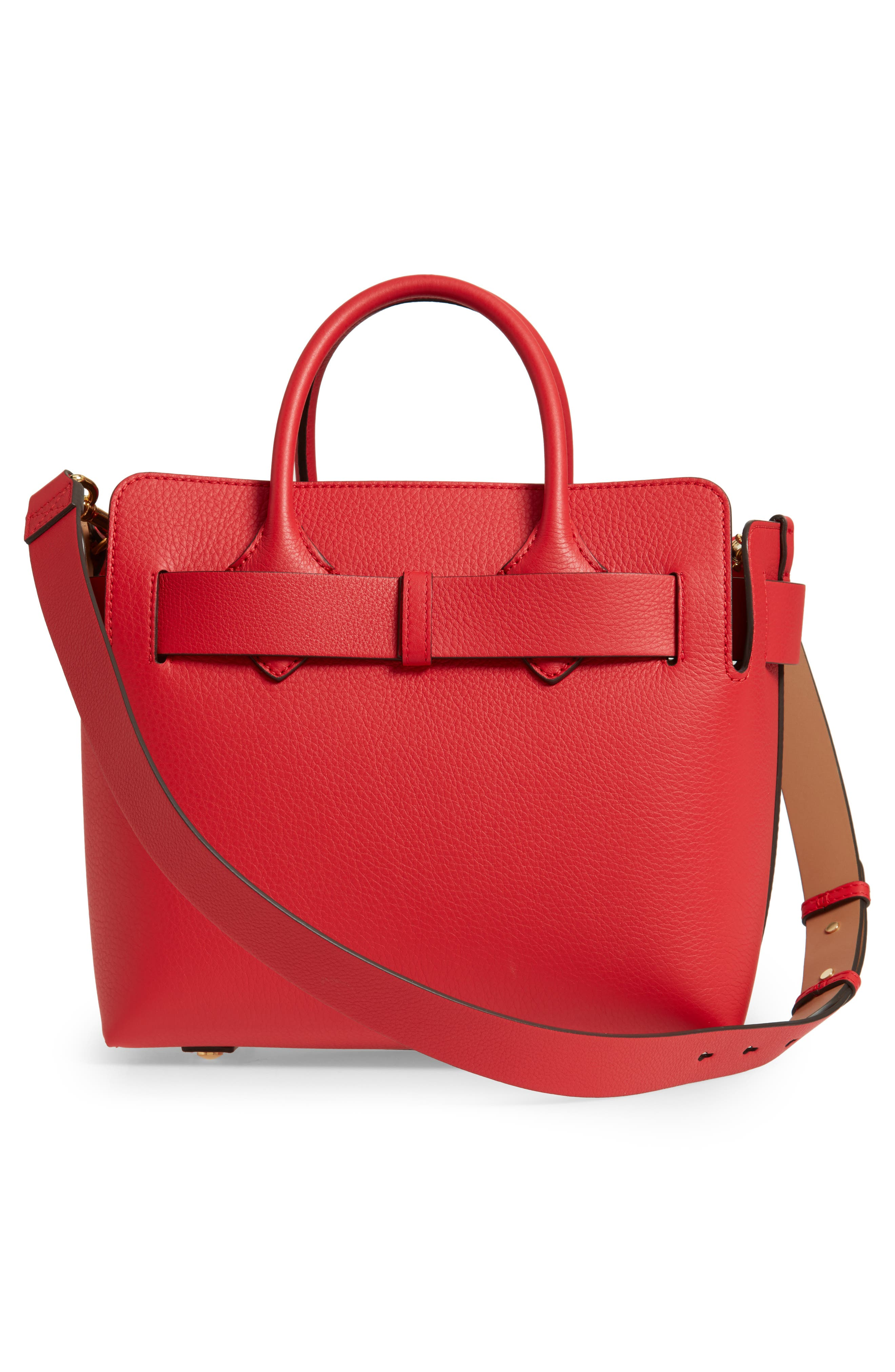 BURBERRY,                             Small Belt Leather Satchel,                             Alternate thumbnail 4, color,                             BRIGHT MILITARY RED