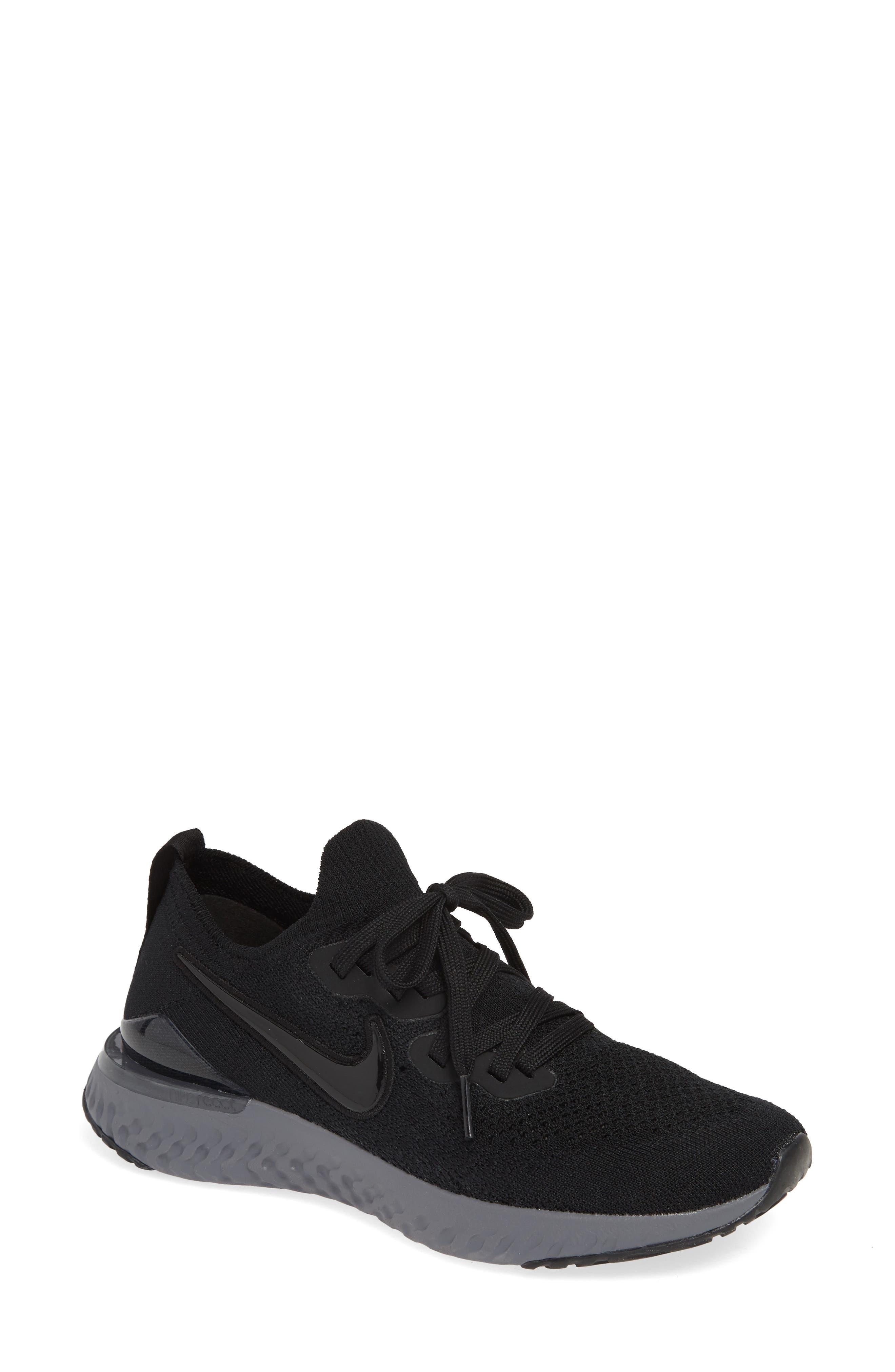 NIKE,                             Epic React Flyknit 2 Running Shoe,                             Main thumbnail 1, color,                             BLACK/ ANTHRACITE/ GUN SMOKE