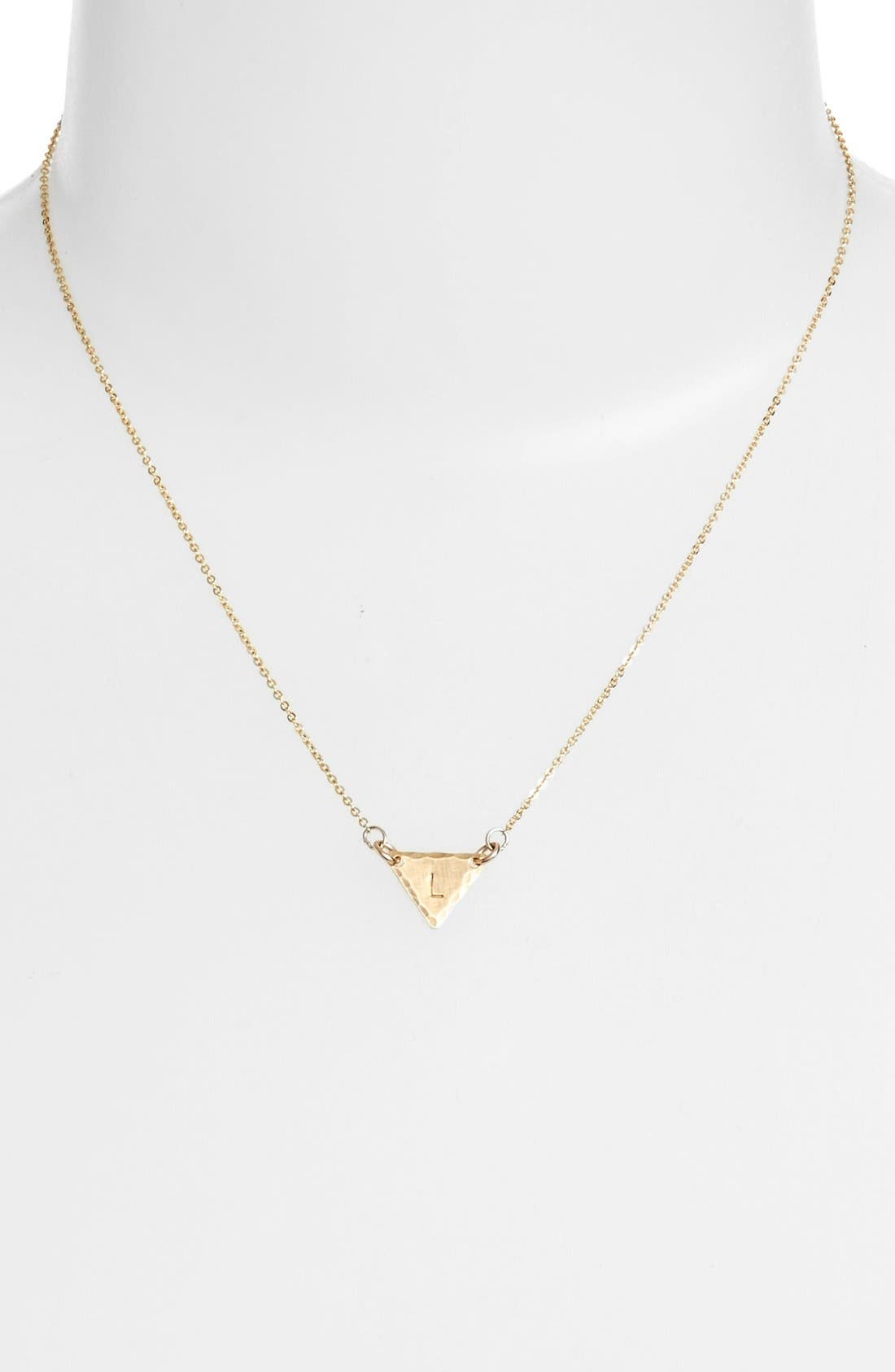 14k-Gold Fill Initial Triangle Necklace,                             Alternate thumbnail 38, color,