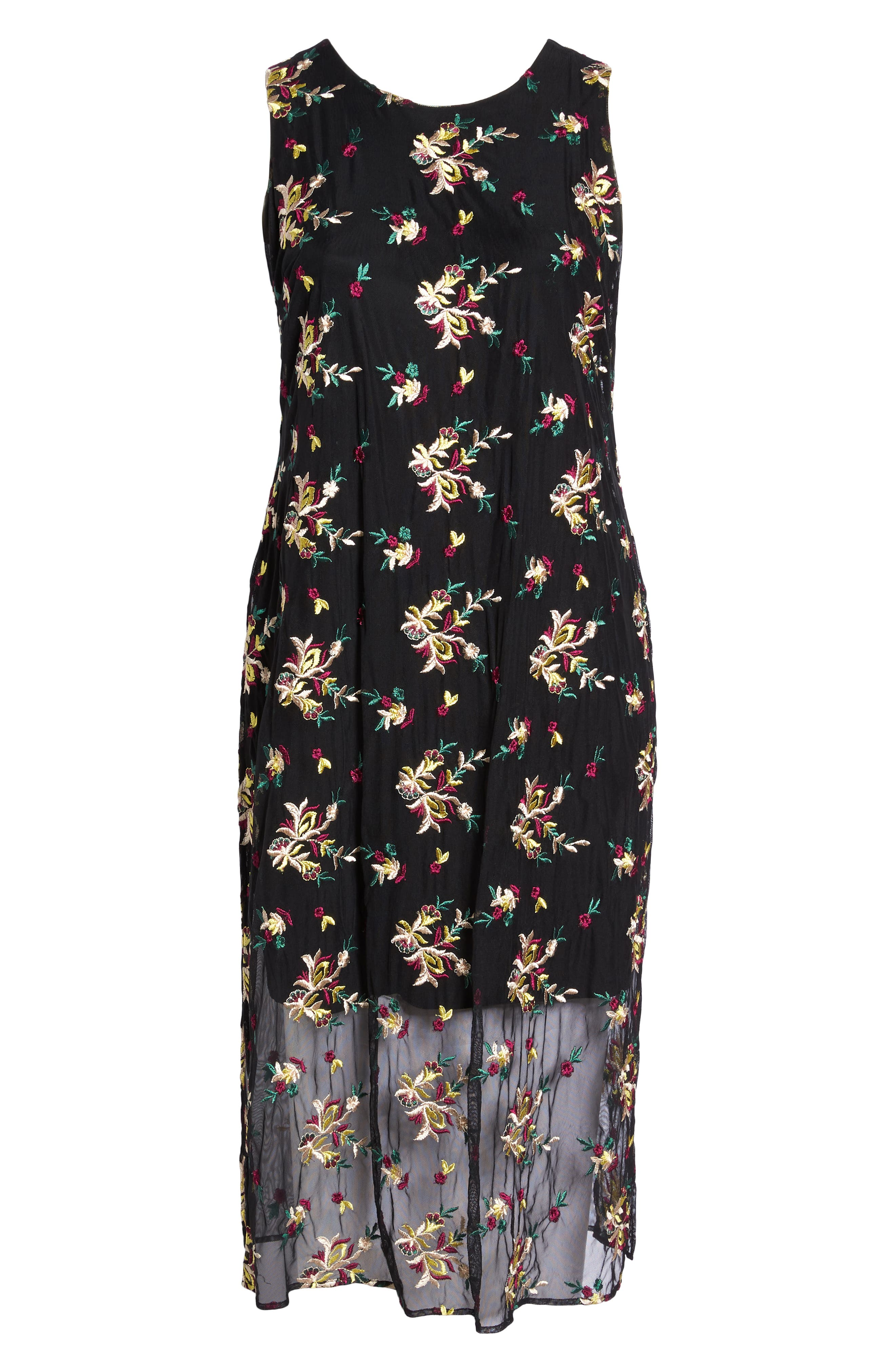 Tropical Embroidered Mesh Overlay Dress,                             Alternate thumbnail 7, color,                             004