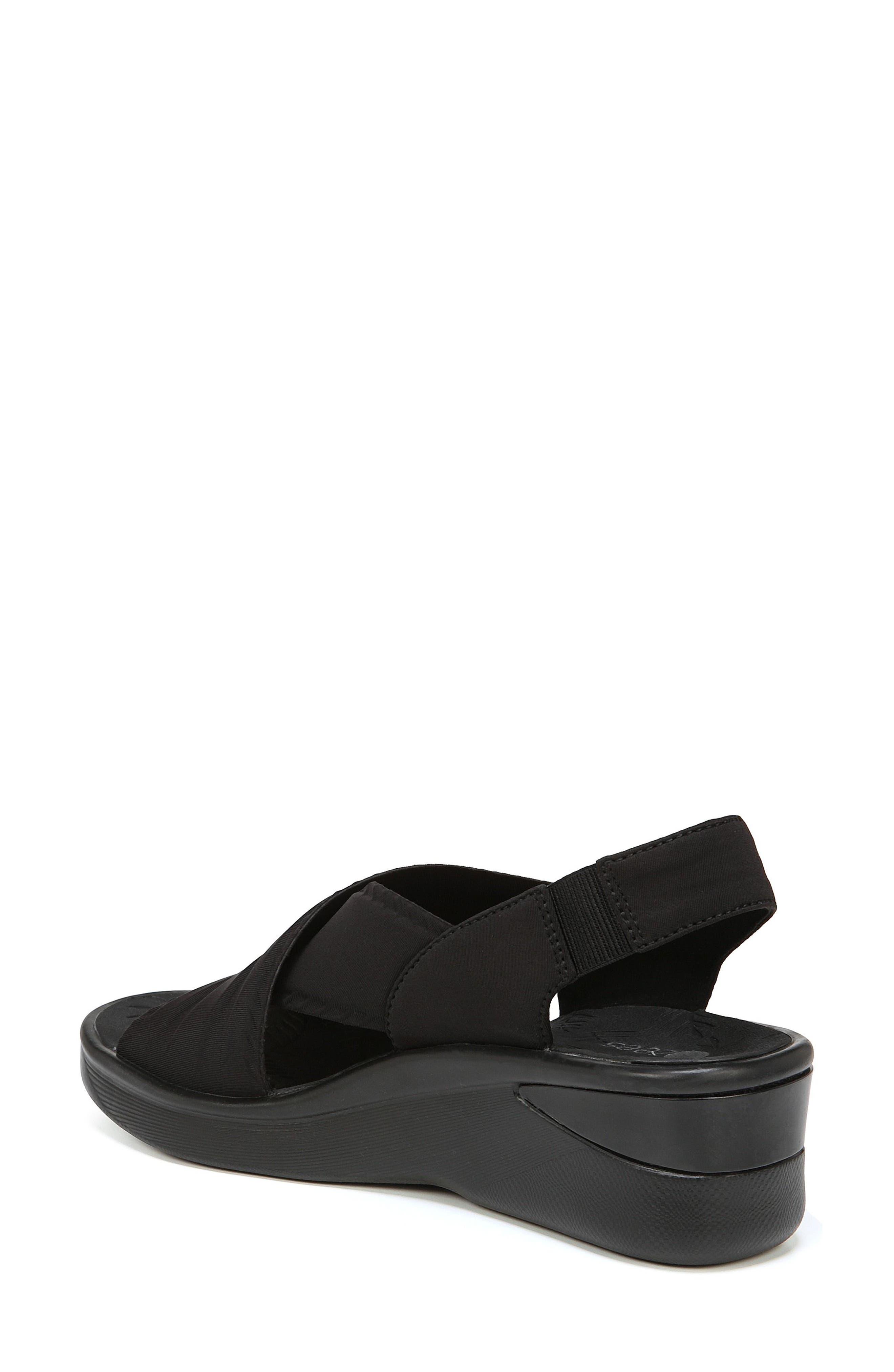Sunset Wedge Sandal,                             Alternate thumbnail 2, color,                             BLACK FABRIC