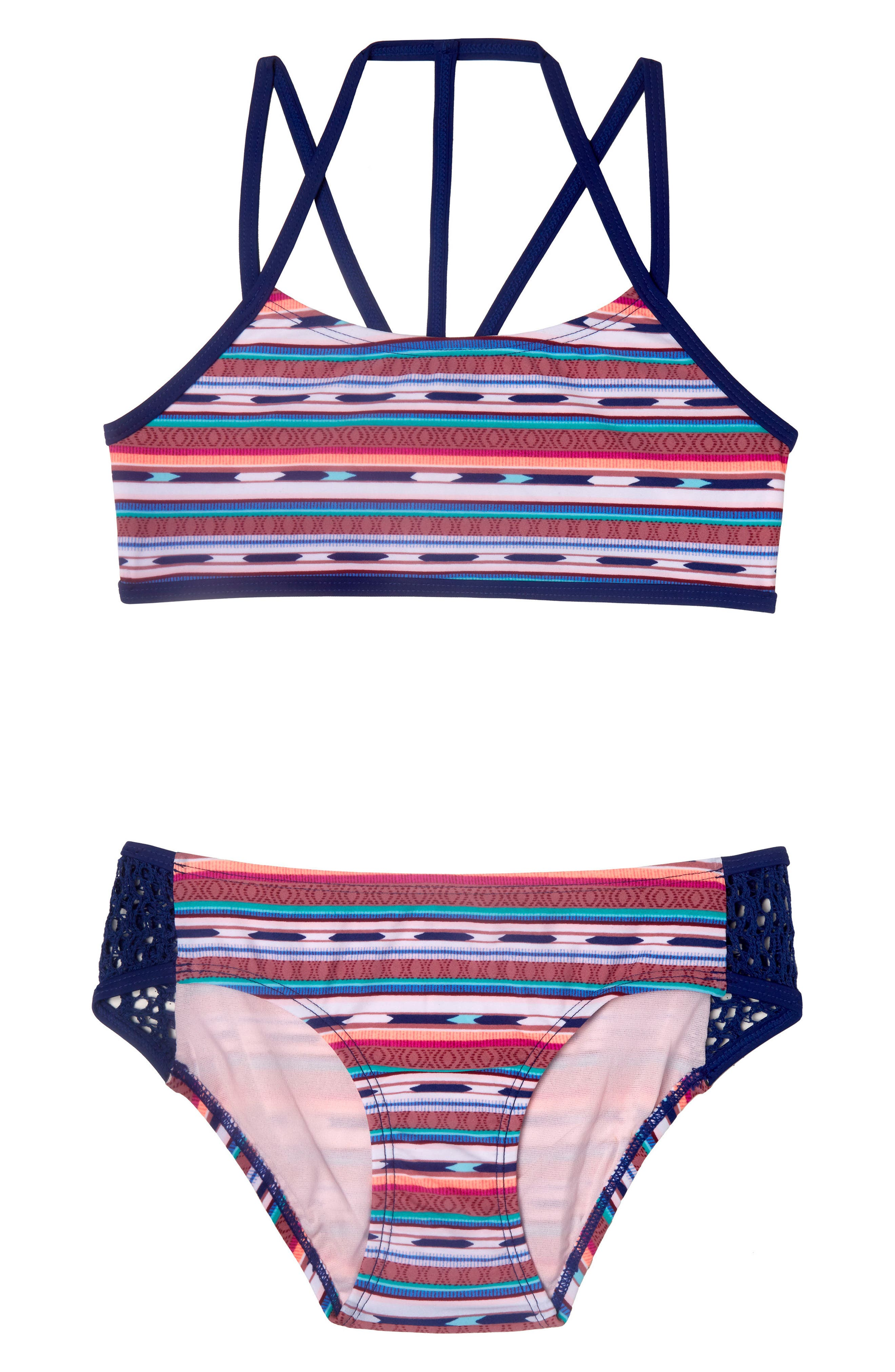 Desert Stripe Two-Piece Swimsuit,                             Main thumbnail 1, color,                             NAVY