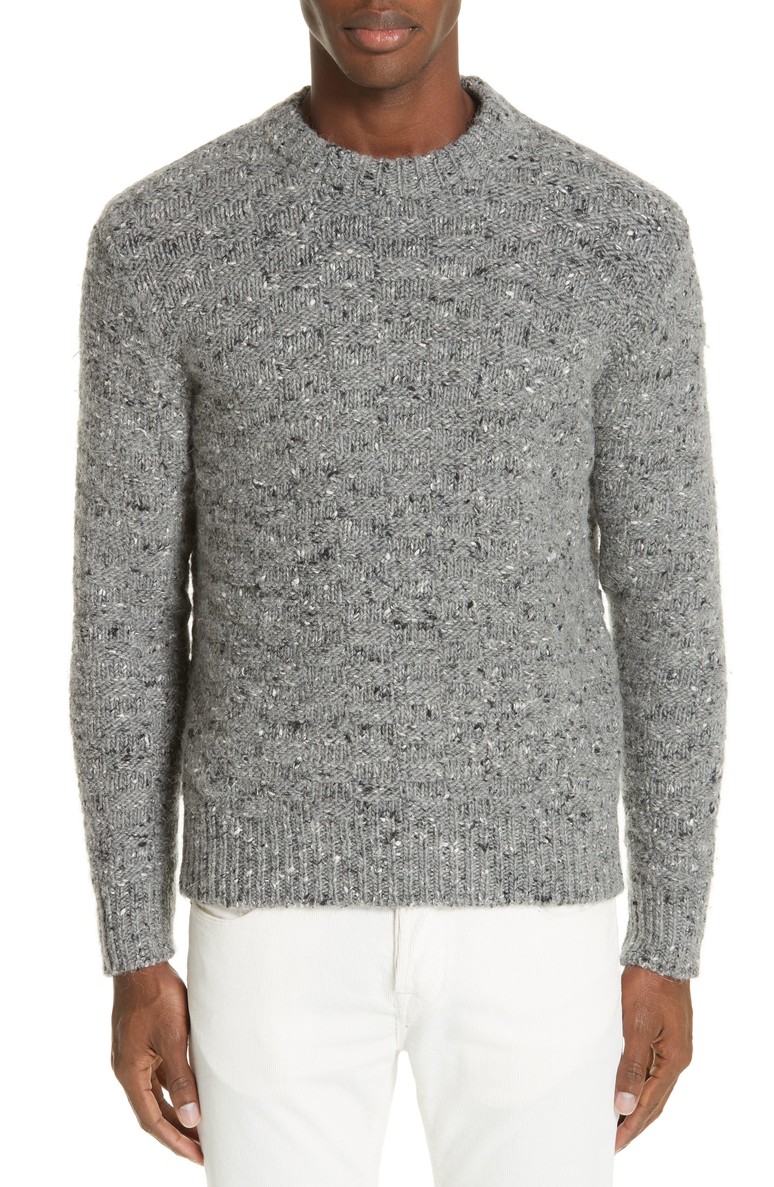 Wool Blend Crewneck Sweater,                             Main thumbnail 1, color,                             GREY
