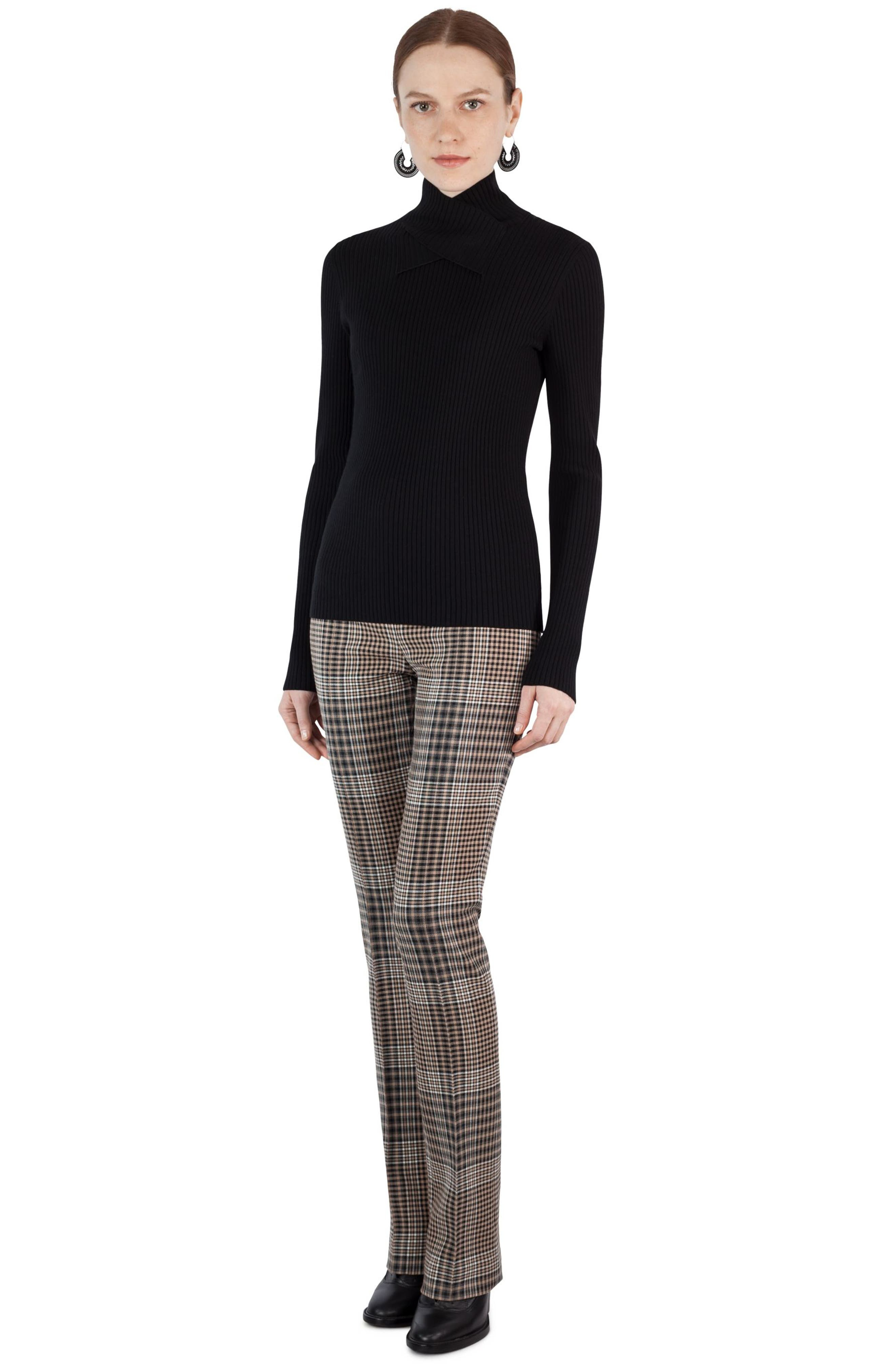 Stretch Wool Crisscross Turtleneck,                             Alternate thumbnail 6, color,                             009